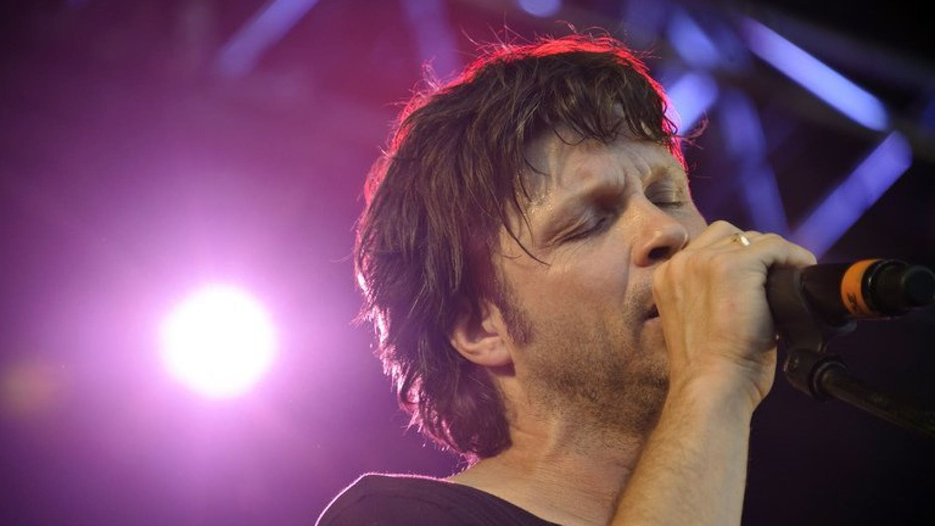 French rock singer Bertrand Cantat performs on June 29, 2012, in the French city of Belfort.