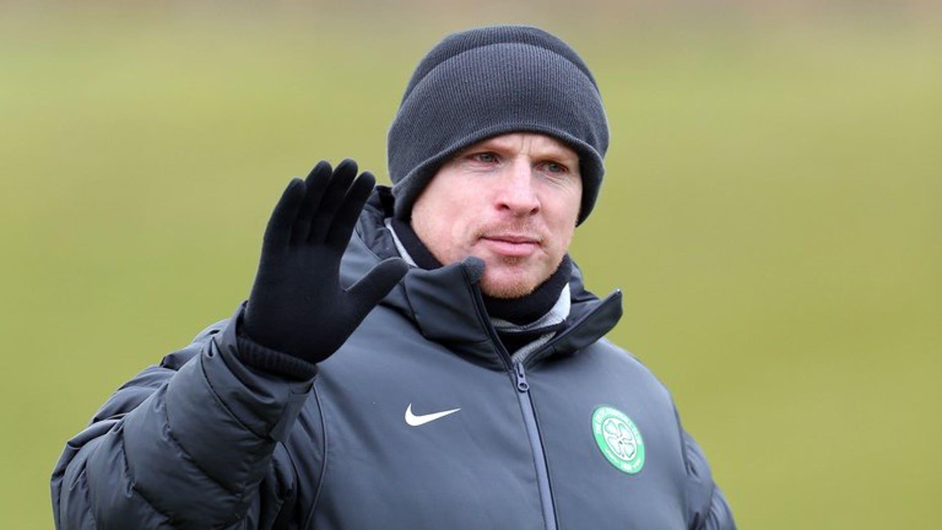 Celtic's manager Neil Lennon leads a training session at Lennoxtown Training facility, near Glasgow, Scotland, on February 11, 2013.