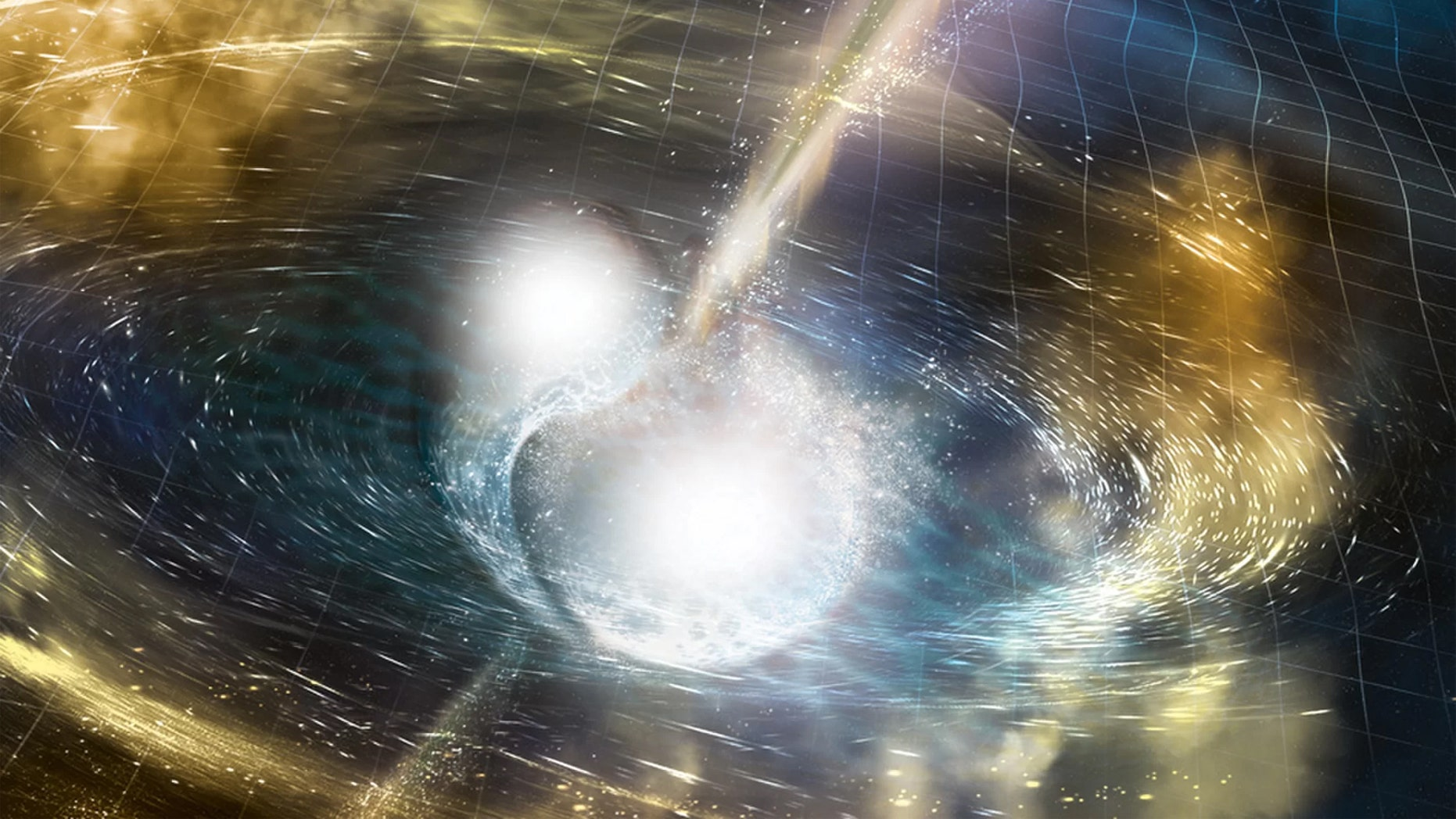 An illustration of two merging neutron stars. Credit: National Science Foundation/LIGO/Sonoma State University/A. Simonnet