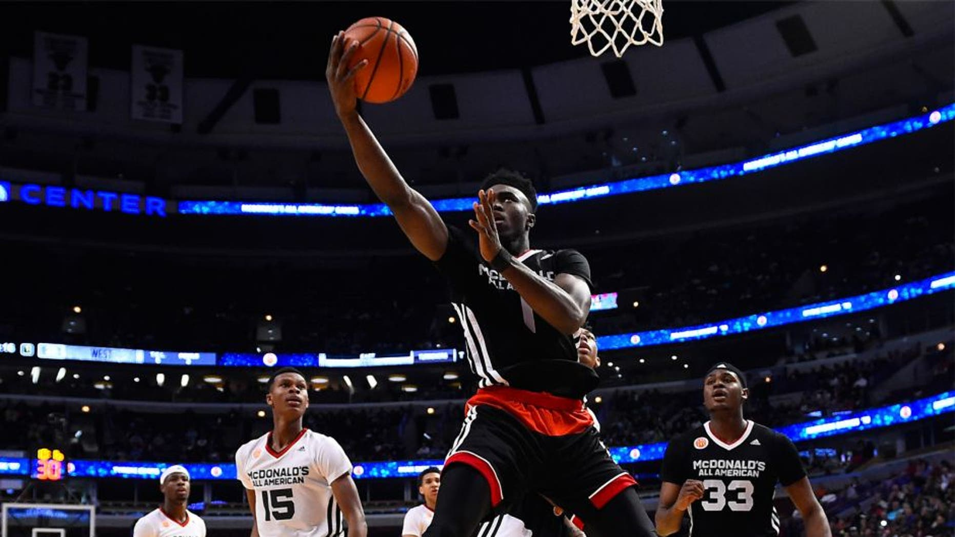 Apr 1, 2015; Chicago, IL, USA; McDonald's All American East forward Jaylen Brown (1) shoots the ball against the McDonald's All American West during the first half at the United Center. Mandatory Credit: Mike DiNovo-USA TODAY Sports