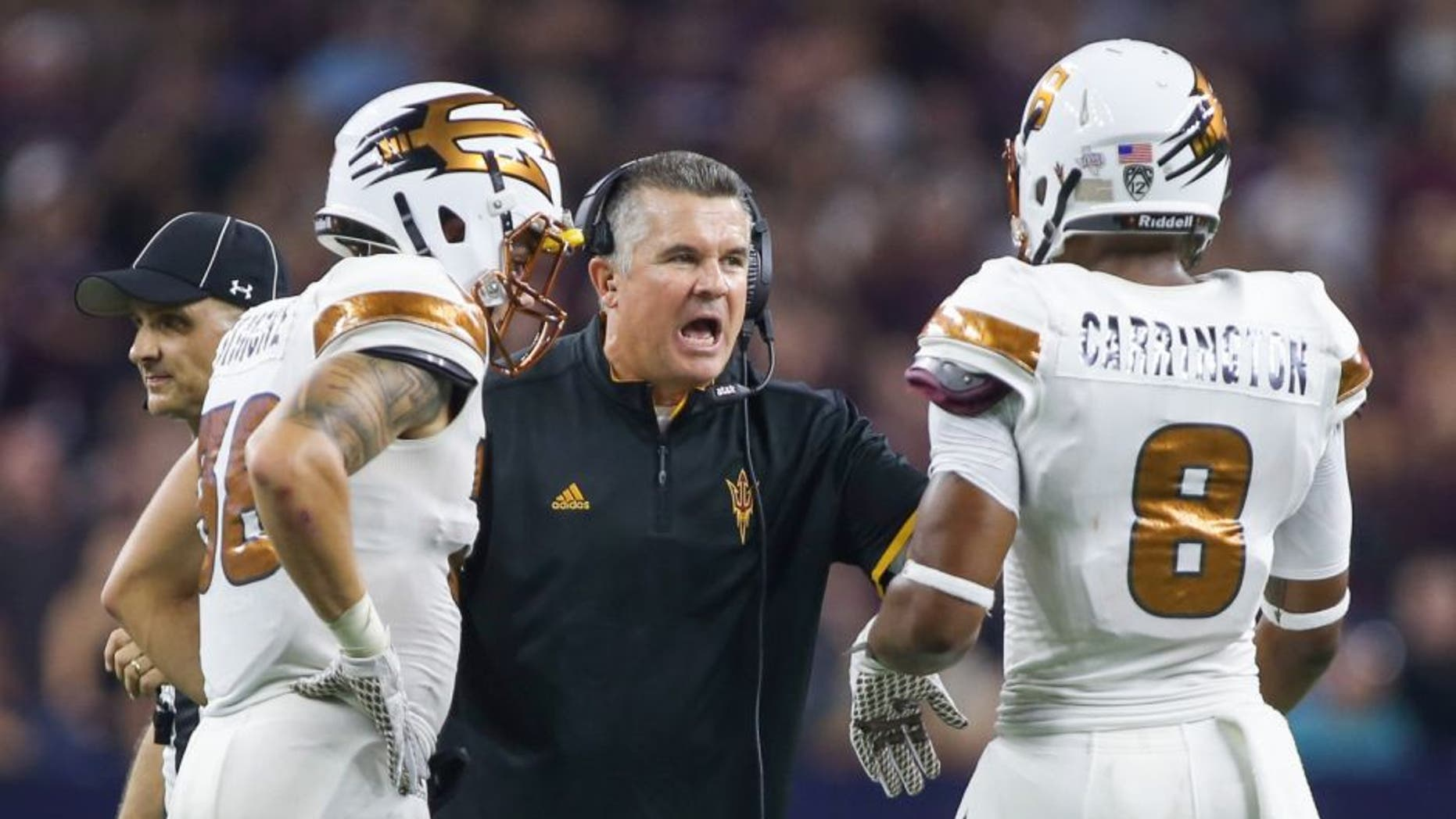Sep 5, 2015; Houston, TX, USA; Arizona State Sun Devils head coach Todd Graham talks with players during the game against the Texas A&M Aggies at NRG Stadium. Mandatory Credit: Troy Taormina-USA TODAY Sports