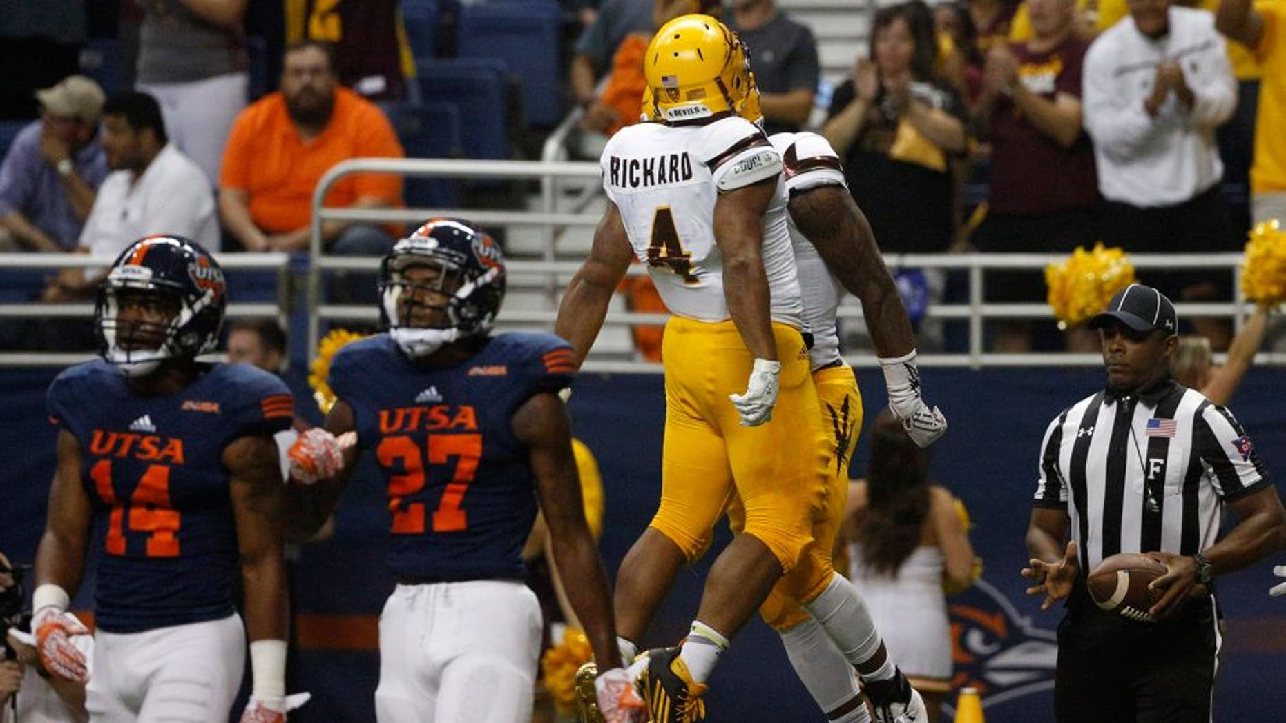 Sep 16, 2016; San Antonio, TX, USA; Arizona State Sun Devils wide receiver N'Keal Harry (right) celebrates with teammates after scoring a touchdown against the UTSA Roadrunners at Alamodome. Mandatory Credit: Soobum Im-USA TODAY Sports