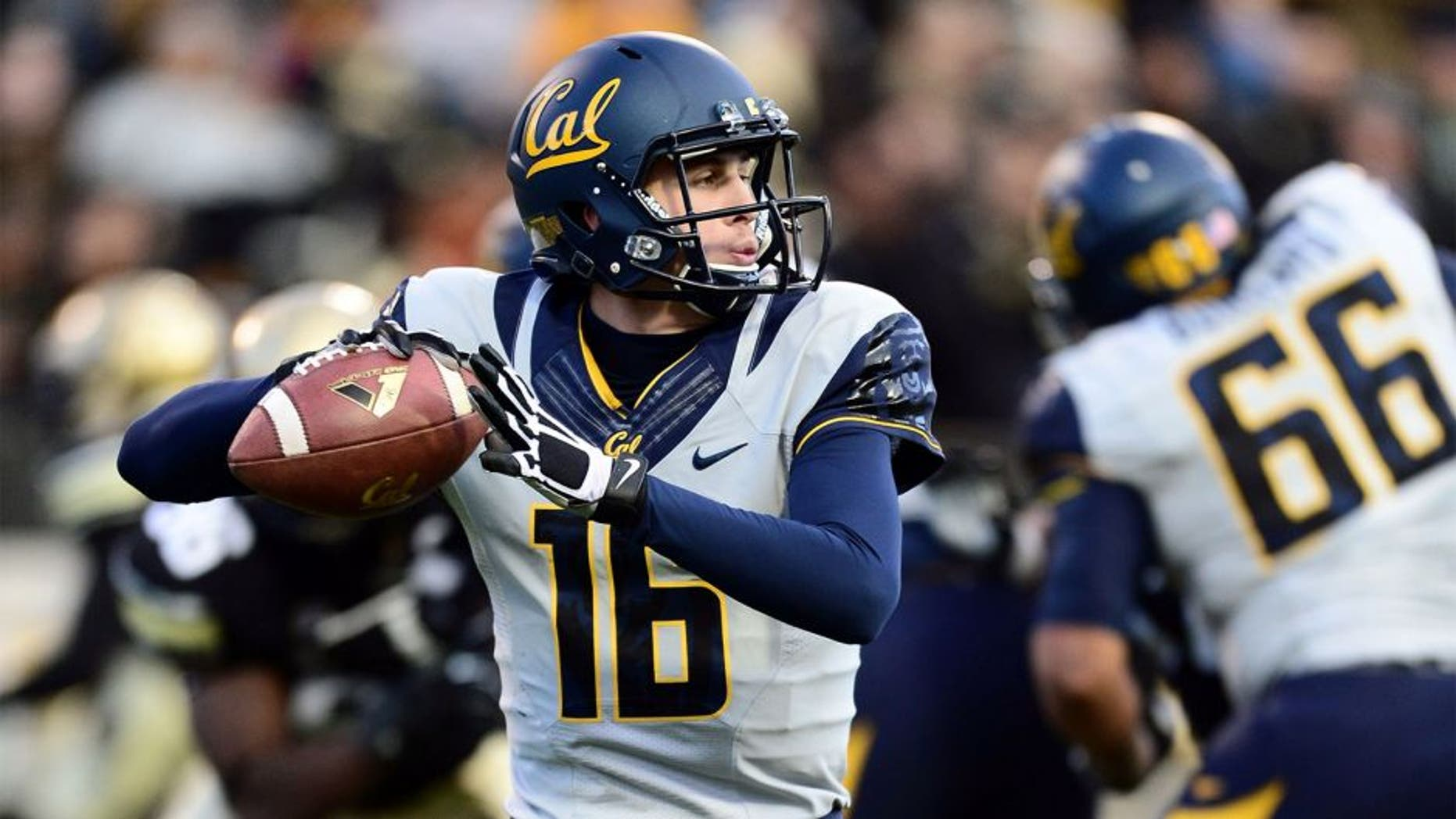 Nov 16, 2013; Boulder, CO, USA; California Golden Bears quarterback Jared Goff (16) prepares to pass in the first quarter against the Colorado Buffaloes at Folsom Field. Mandatory Credit: Ron Chenoy-USA TODAY Sports