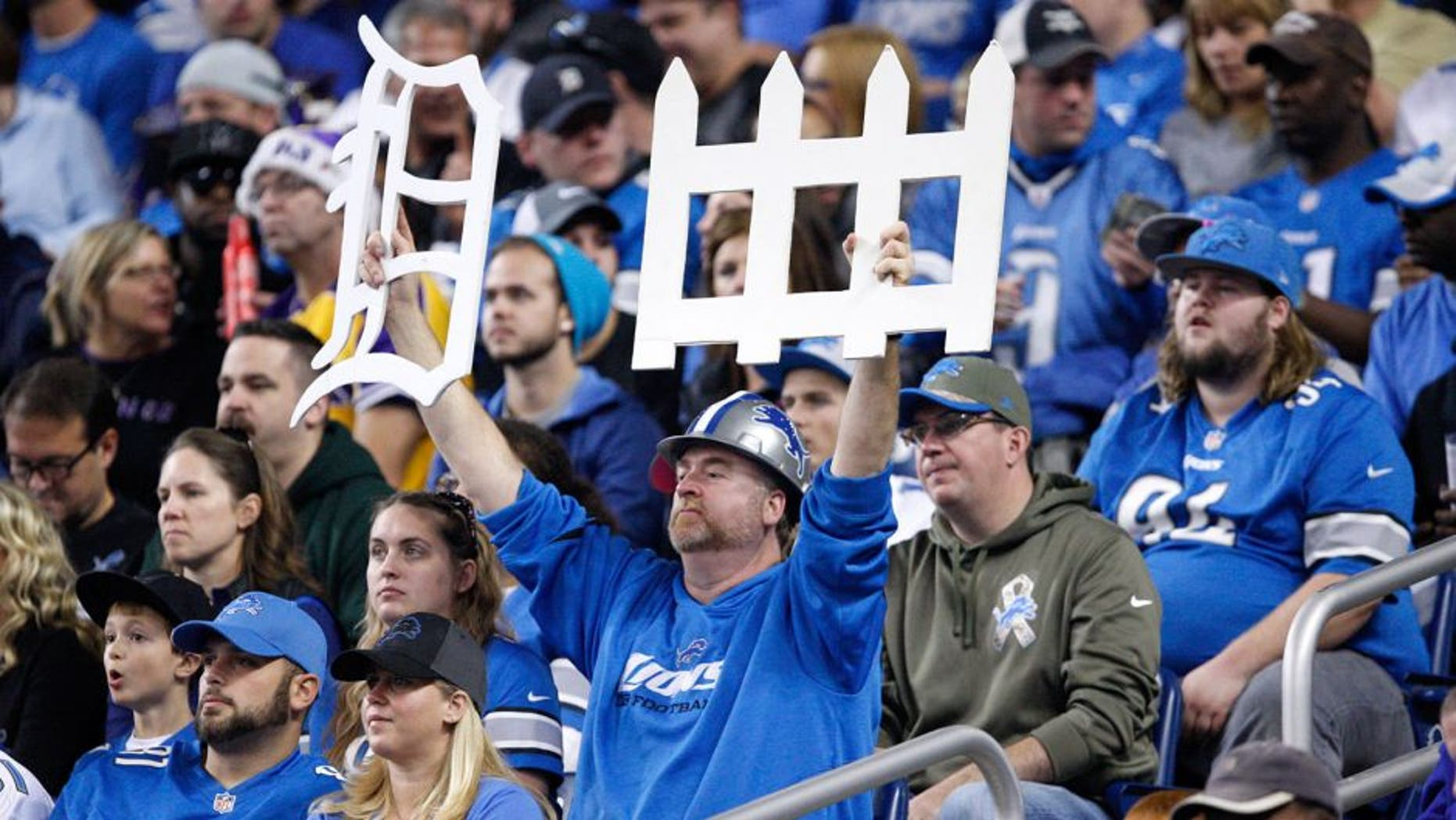 Oct 25, 2015; Detroit, MI, USA; Detroit Lions fan holds up a defense sign during the first quarter against the Minnesota Vikings at Ford Field. Vikings win 28-19. Mandatory Credit: Raj Mehta-USA TODAY Sports