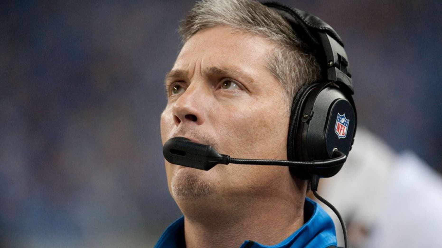 Dec 16, 2013; Detroit, MI, USA; Detroit Lions head coach Jim Schwartz during the first quarter against the Baltimore Ravens at Ford Field. Mandatory Credit: Tim Fuller-USA TODAY Sports
