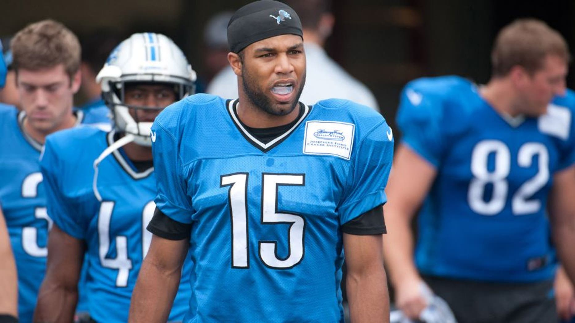 Aug 2, 2014; Detroit, MI, USA; Detroit Lions wide receiver Golden Tate (15) takes to the field during training camp at the Lions training facility. Mandatory Credit: Tim Fuller-USA TODAY Sports