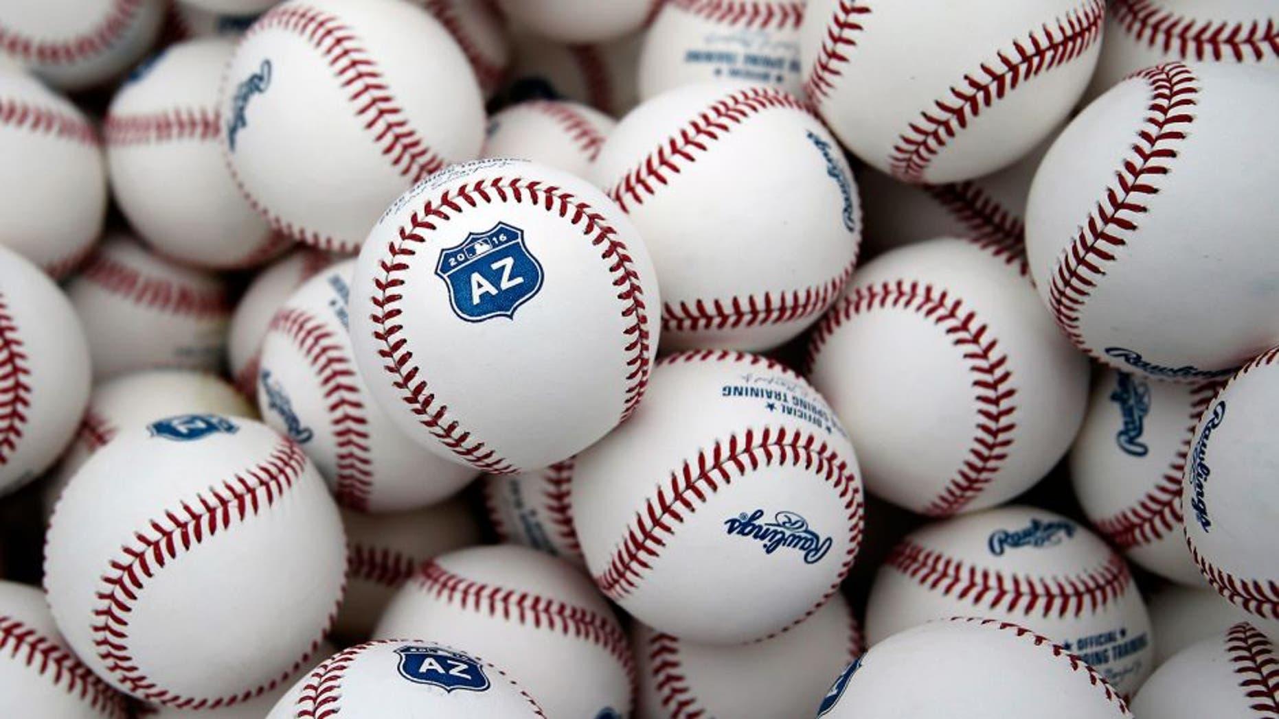 Feb 19, 2016; Scottsdale, AZ, USA; MLB baseball show the new logo at Arizona Diamondbacks spring training camp at Salt River Fields. Mandatory Credit: Rick Scuteri-USA TODAY Sports