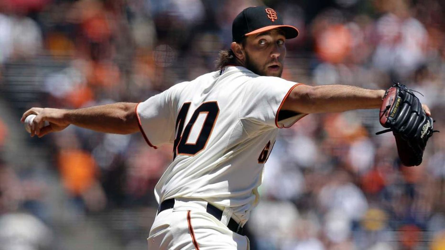 Sunday, May 25: San Francisco Giants pitcher Madison Bumgarner throws against the Minnesota Twins during the first inning.