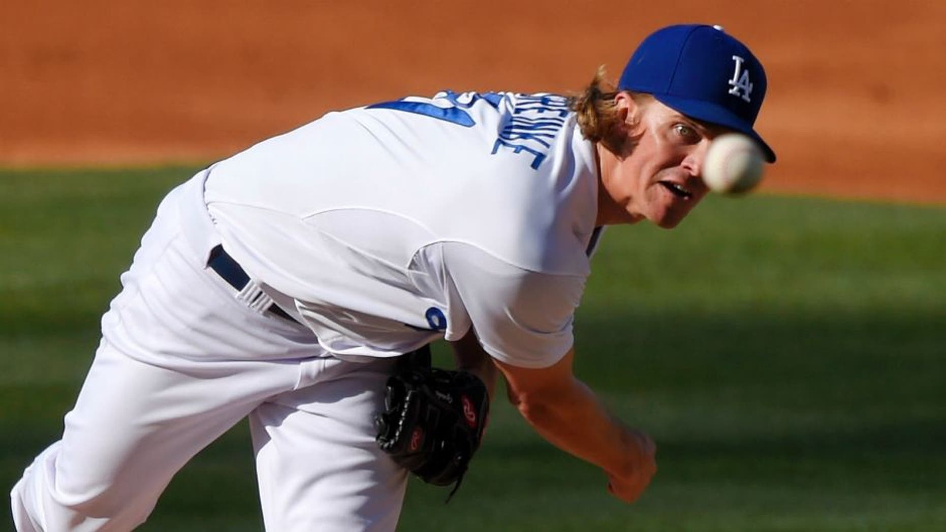 Los Angeles Dodgers starting pitcher Zack Greinke throws to the plate during the second inning of a baseball game against the St. Louis Cardinals, Sunday, June 7, 2015, in Los Angeles. (AP Photo/Mark J. Terrill)