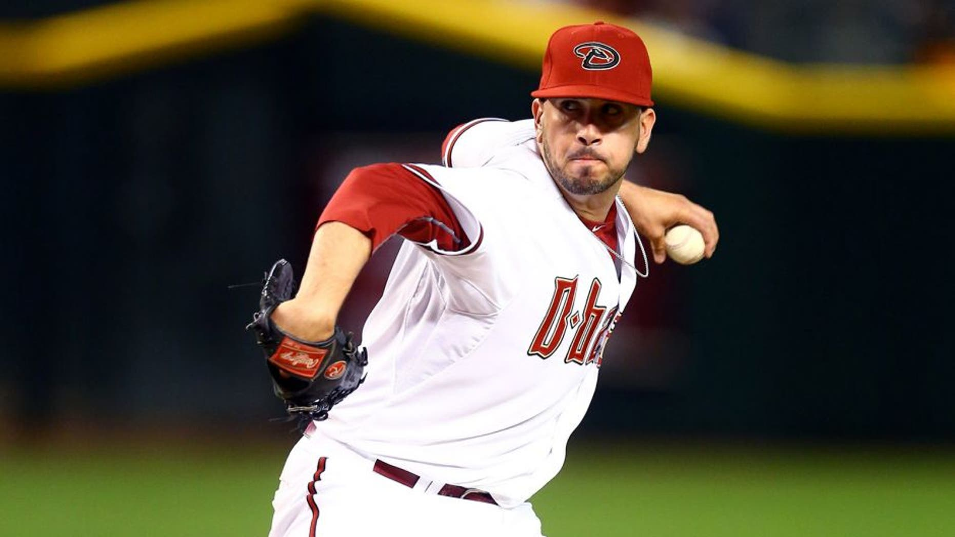 Apr 6, 2015; Phoenix, AZ, USA; Arizona Diamondbacks pitcher Oliver Perez against the San Francisco Giants during opening day at Chase Field. Mandatory Credit: Mark J. Rebilas-USA TODAY Sports