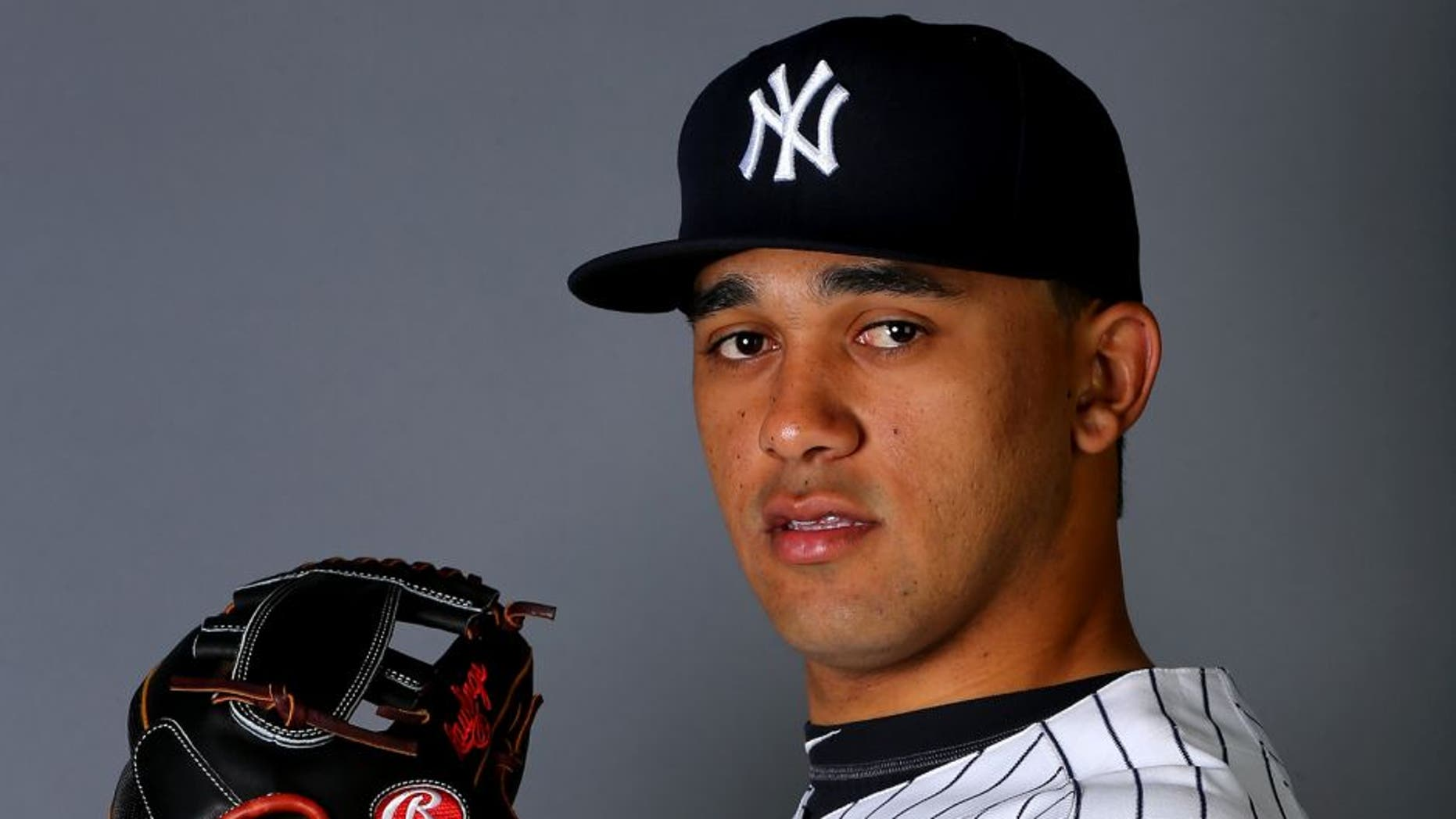 TAMPA, FL - FEBRUARY 27: Vicente Campos #81 of the New York Yankees poses for a portrait on February 27, 2015 at George M. Steinbrenner Stadium in Tampa,Florida. (Photo by Elsa/Getty Images)