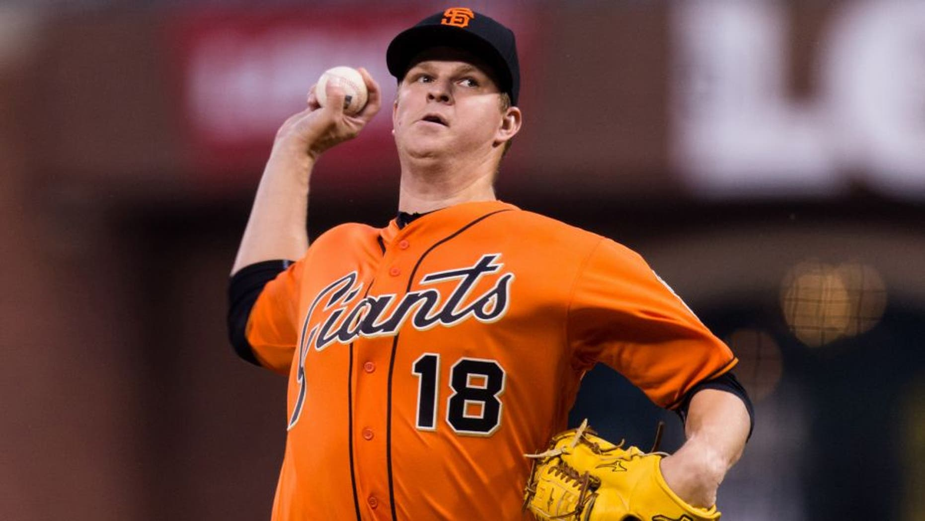 Apr 8, 2016; San Francisco, CA, USA; San Francisco Giants starting pitcher Matt Cain (18) throws against the Los Angeles Dodgers in the first inning at AT&T Park. Mandatory Credit: John Hefti-USA TODAY Sports