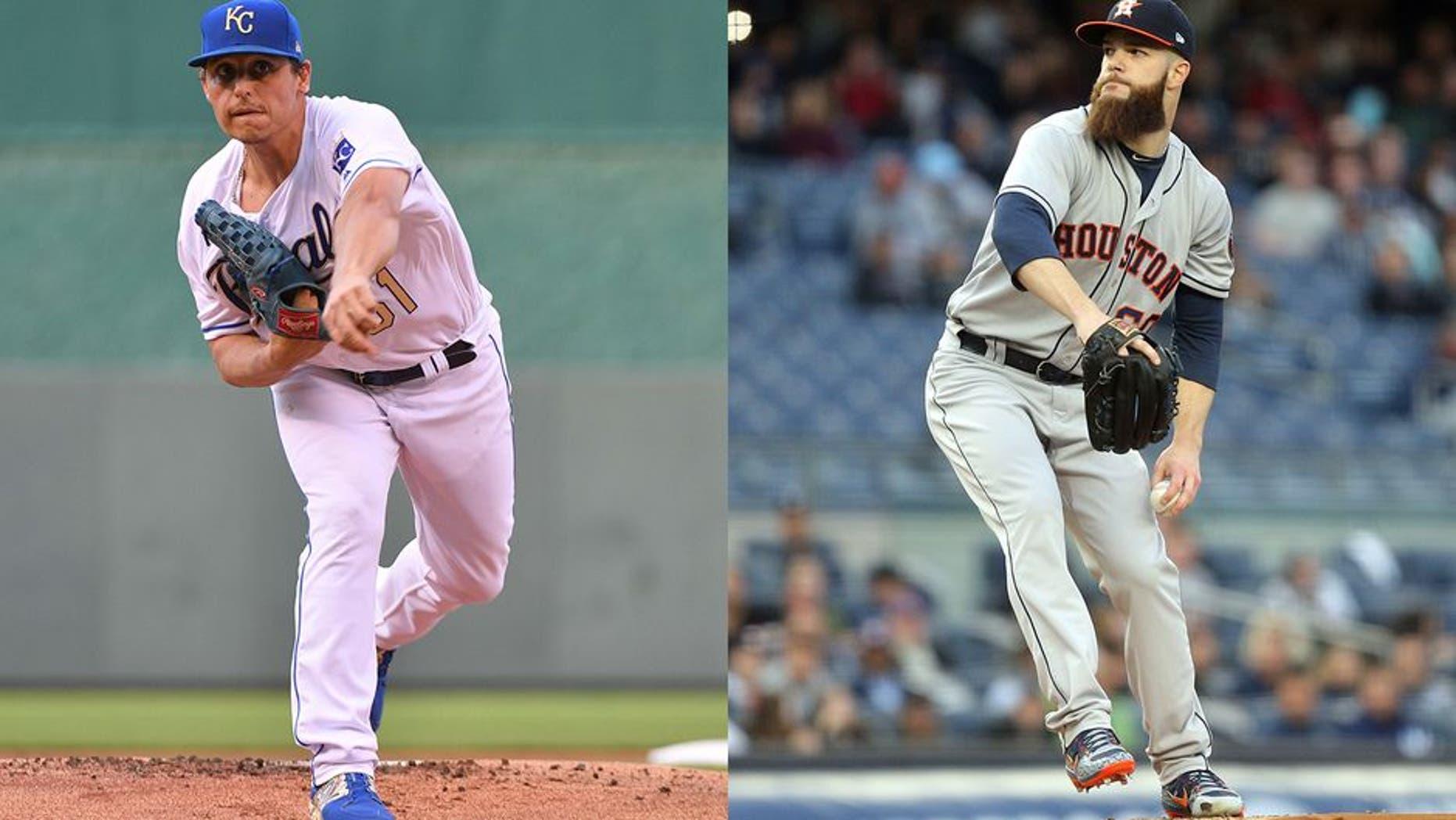 Royals pitcher Jason Vargas and Astros pitcher Dallas Keuchel