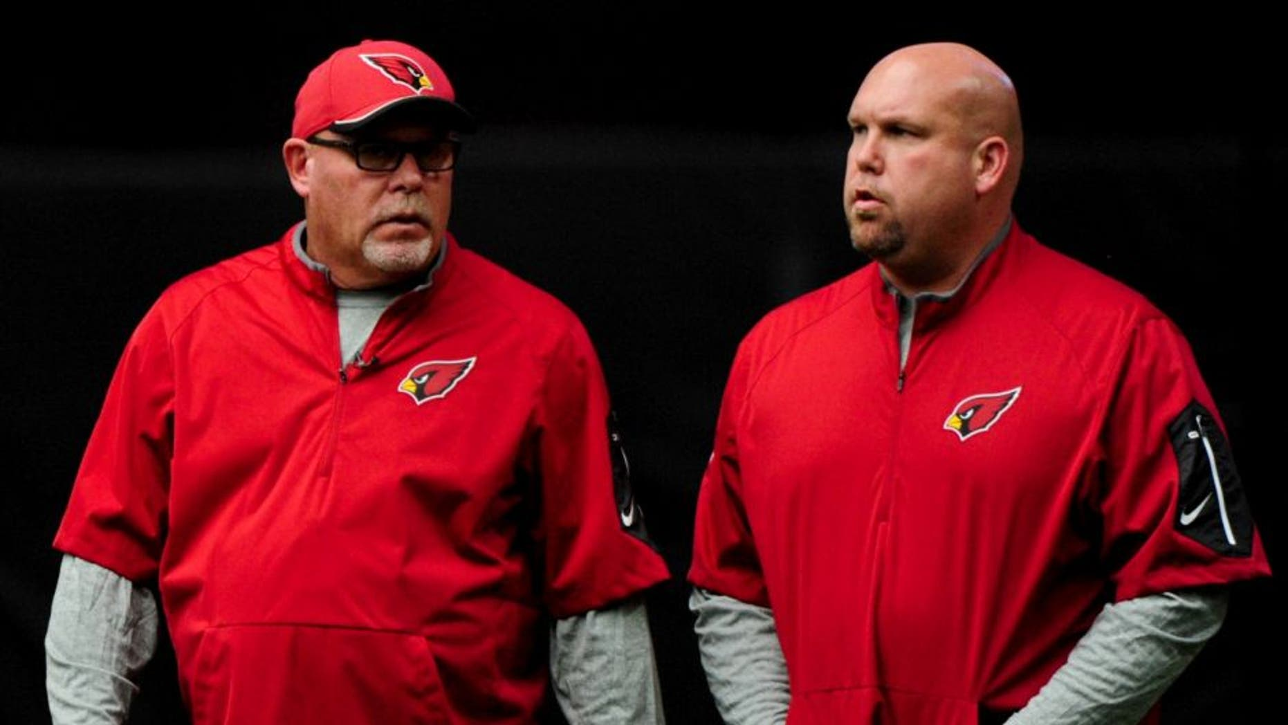 Aug 1, 2015; Glendale, AZ, USA; Arizona Cardinals head coach Bruce Arians and General Manager Steve Keim look on during training camp at University of Phoenix. Mandatory Credit: Matt Kartozian-USA TODAY Sports