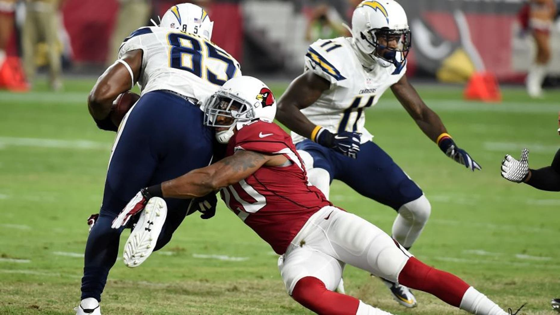 against the San Diego Chargers at University of Phoenix Stadium on August 22, 2015 in Glendale, Arizona.