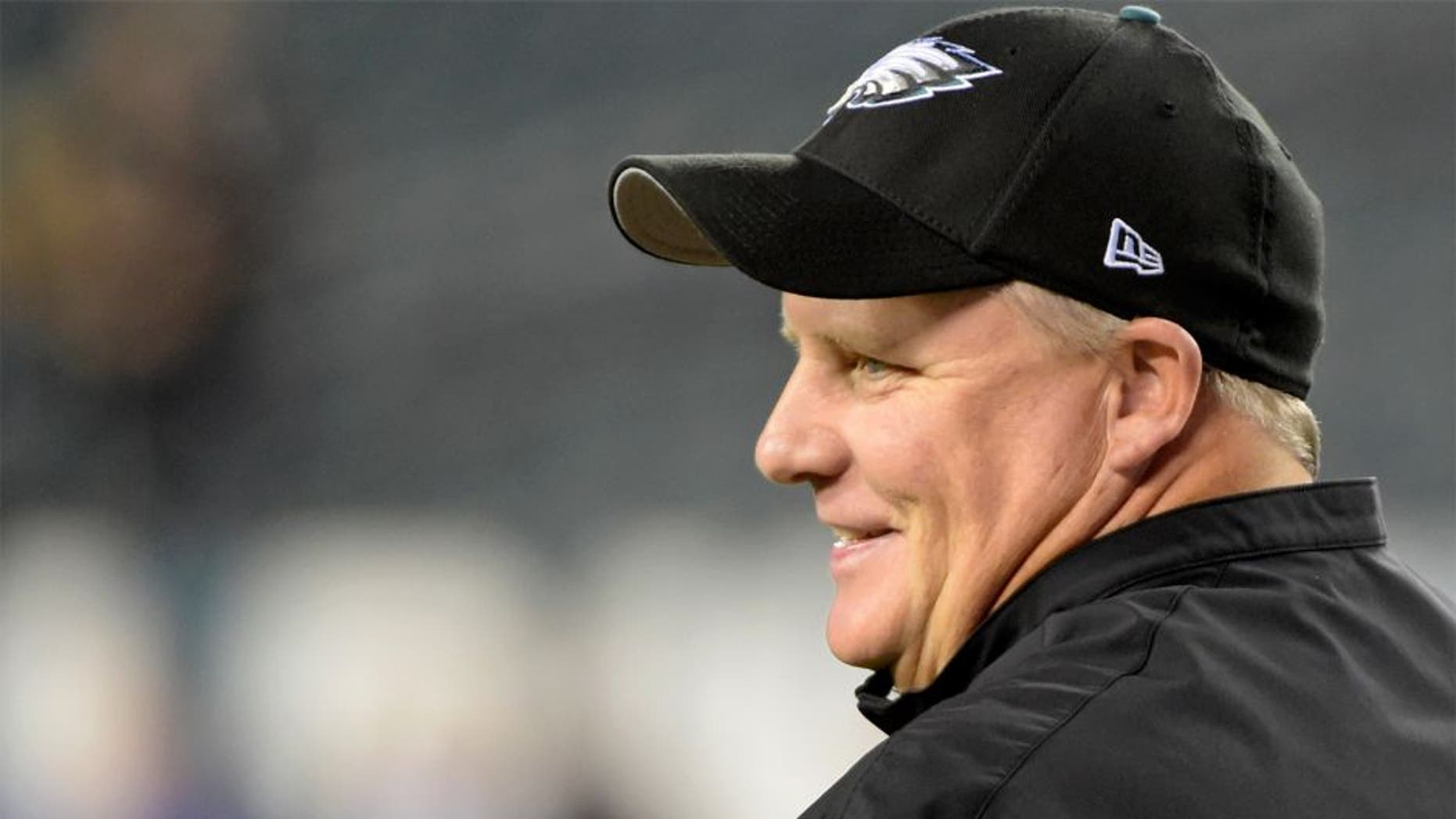 Oct 12, 2014; Philadelphia, PA, USA; Philadelphia Eagles head coach Chip Kelly during pre game warmups before game against the New York Giants at Lincoln Financial Field. Mandatory Credit: Eric Hartline-USA TODAY Sports