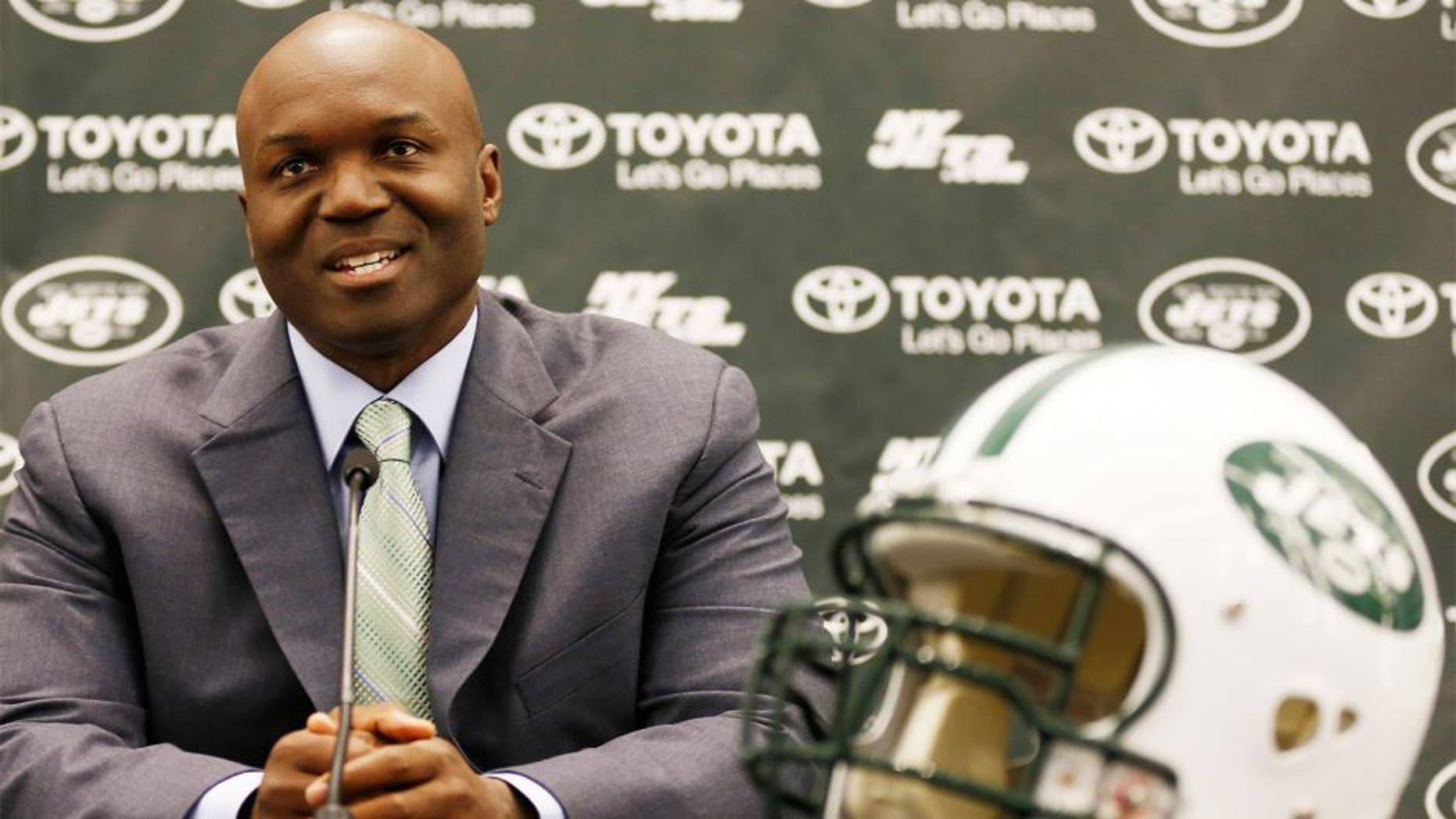 Jan 21, 2015; Florham Park, NJ, USA; New York Jets new head coach Todd Bowles speaks during a press conference at Atlantic Health Jets Training Center. Mandatory Credit: William Perlman/NJ Advance Media for NJ.com via USA TODAY Sports