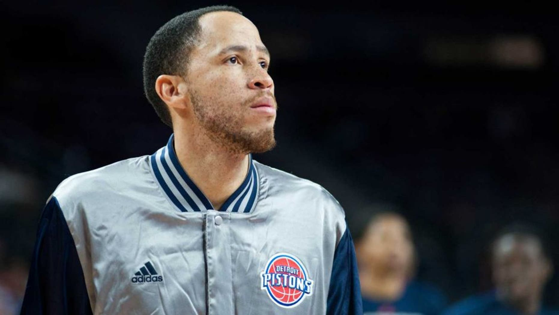 Feb 22, 2015; Auburn Hills, MI, USA; Detroit Pistons forward Tayshaun Prince (22) warms up before the game against the Washington Wizards at The Palace of Auburn Hills. Mandatory Credit: Tim Fuller-USA TODAY Sports