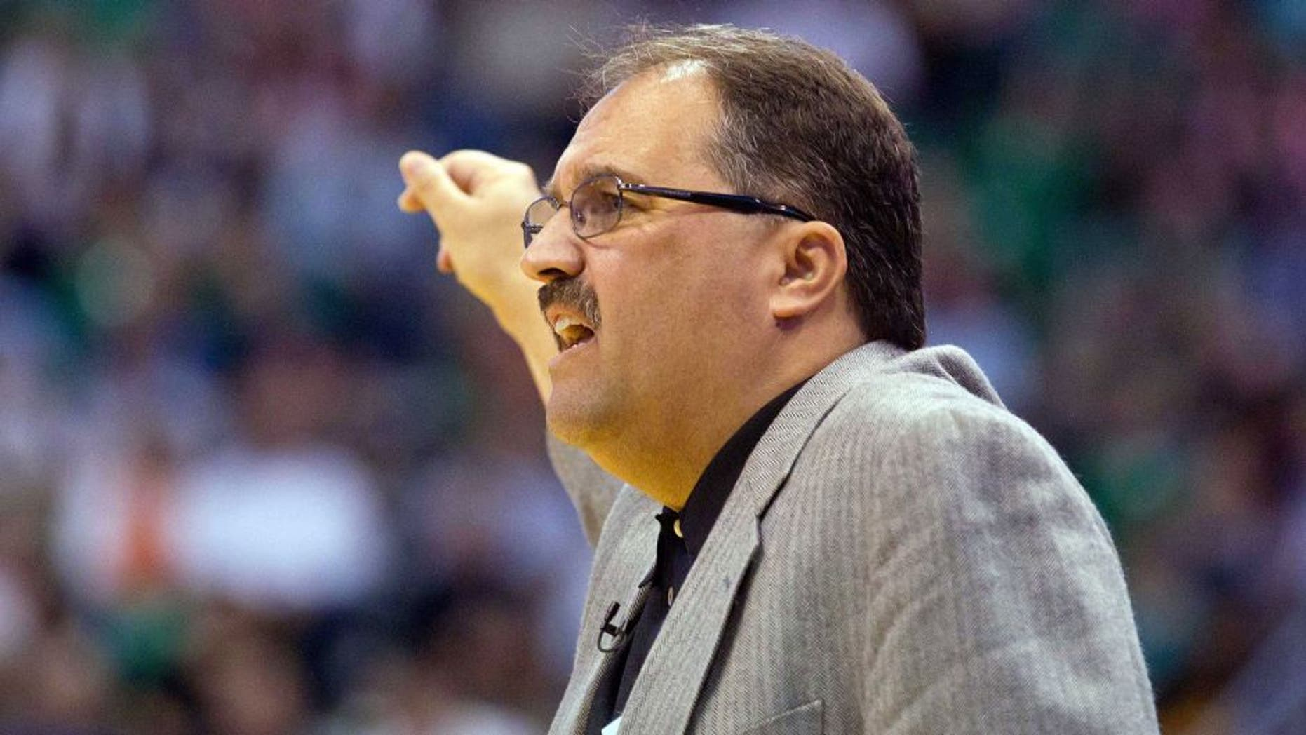 April 21, 2012; Salt Lake City, UT, USA; Orlando Magic head coach Stan Van Gundy during the first quarter against the Utah Jazz at Energy Solutions Arena. Mandatory Credit: Russ Isabella-USA TODAY Sports