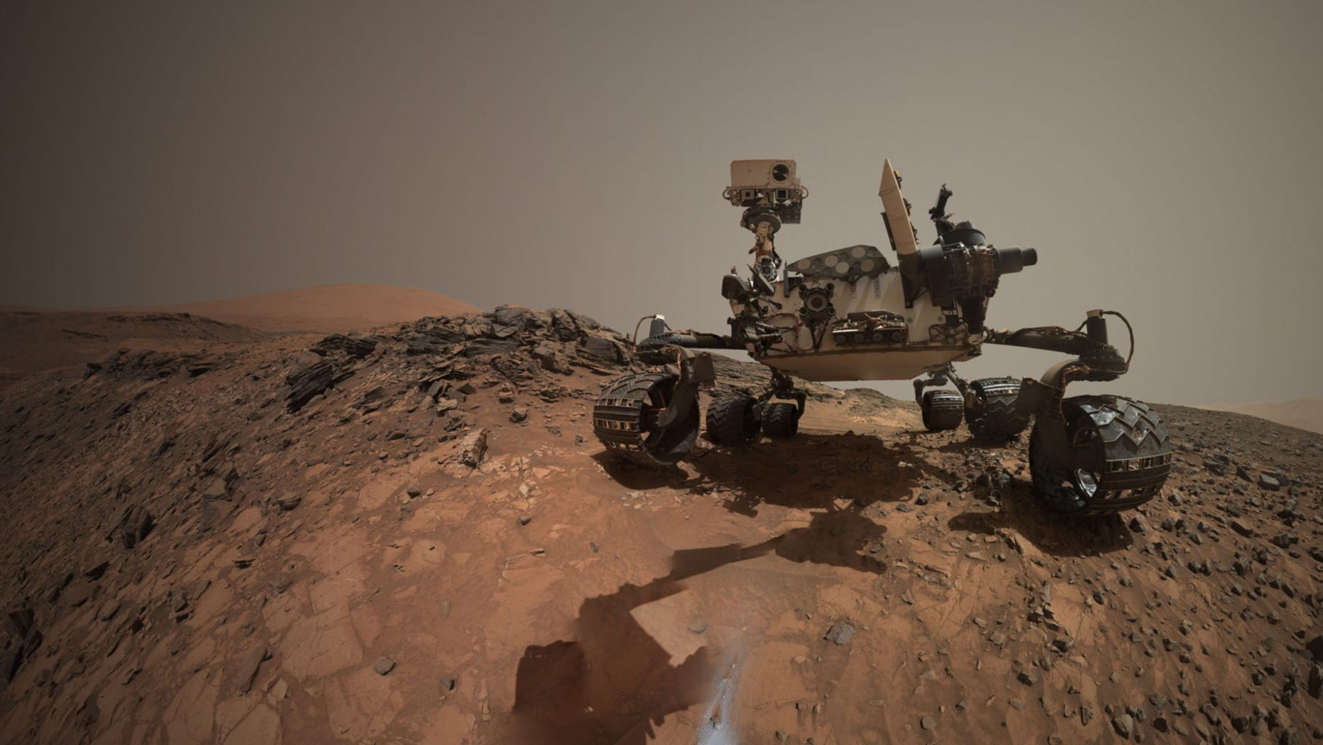 This self-portrait of Curiosity, which is a combination of images, shows the rover at the Buckskin drill site.