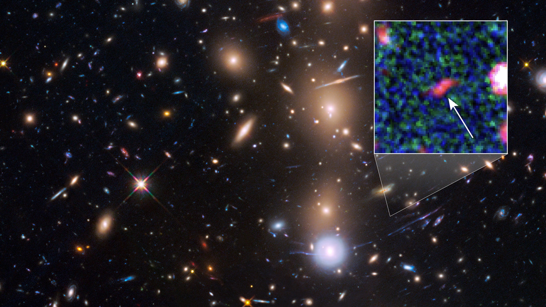 This is a Hubble Space Telescope view of a very massive cluster of galaxies, MACS J0416.1-2403, located roughly 4 billion light-years away and weighing as much as a million billion suns.