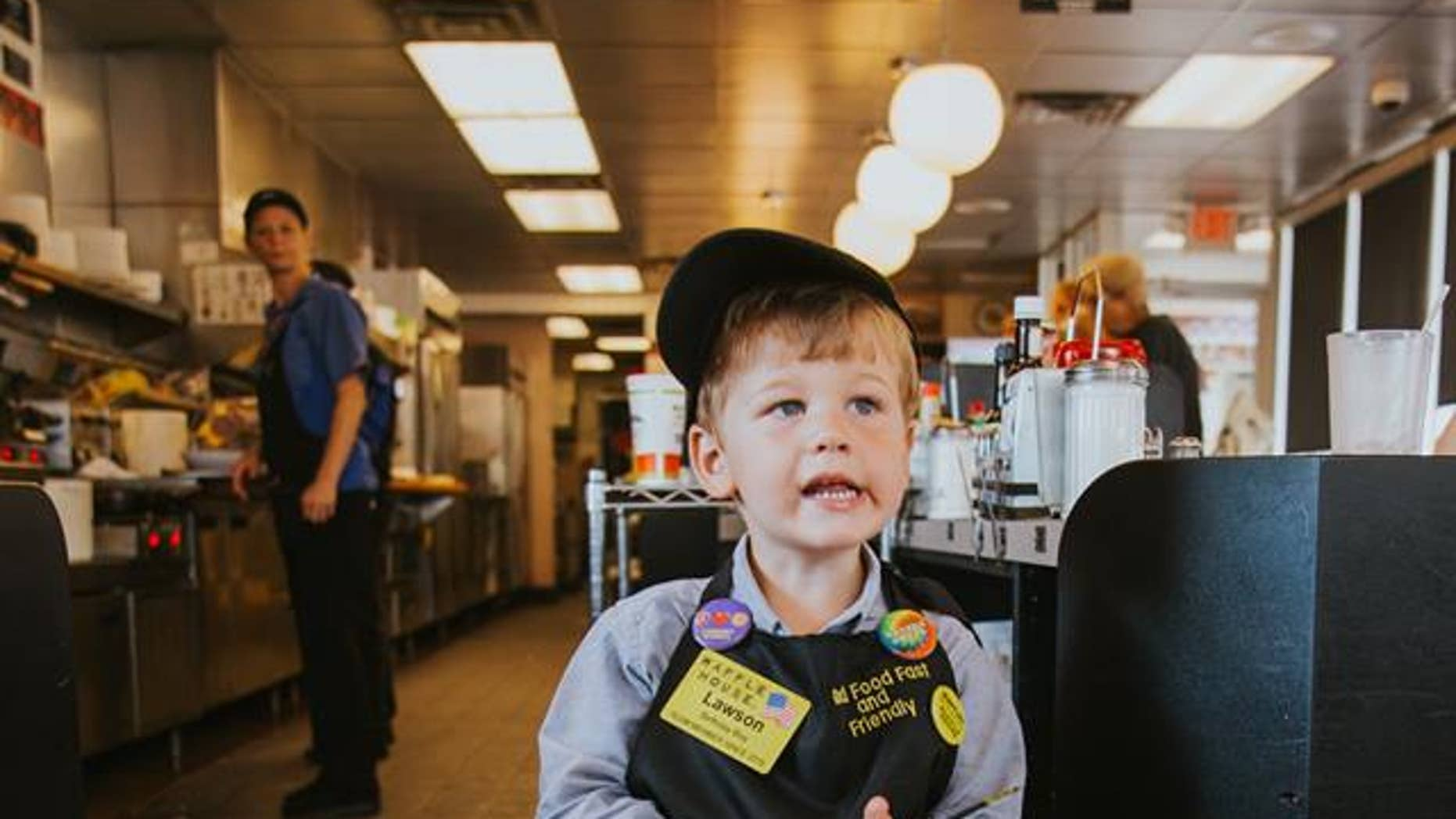 Three-year-old Lawson Cooper loves Waffle House so much, he celebrated his birthday there.