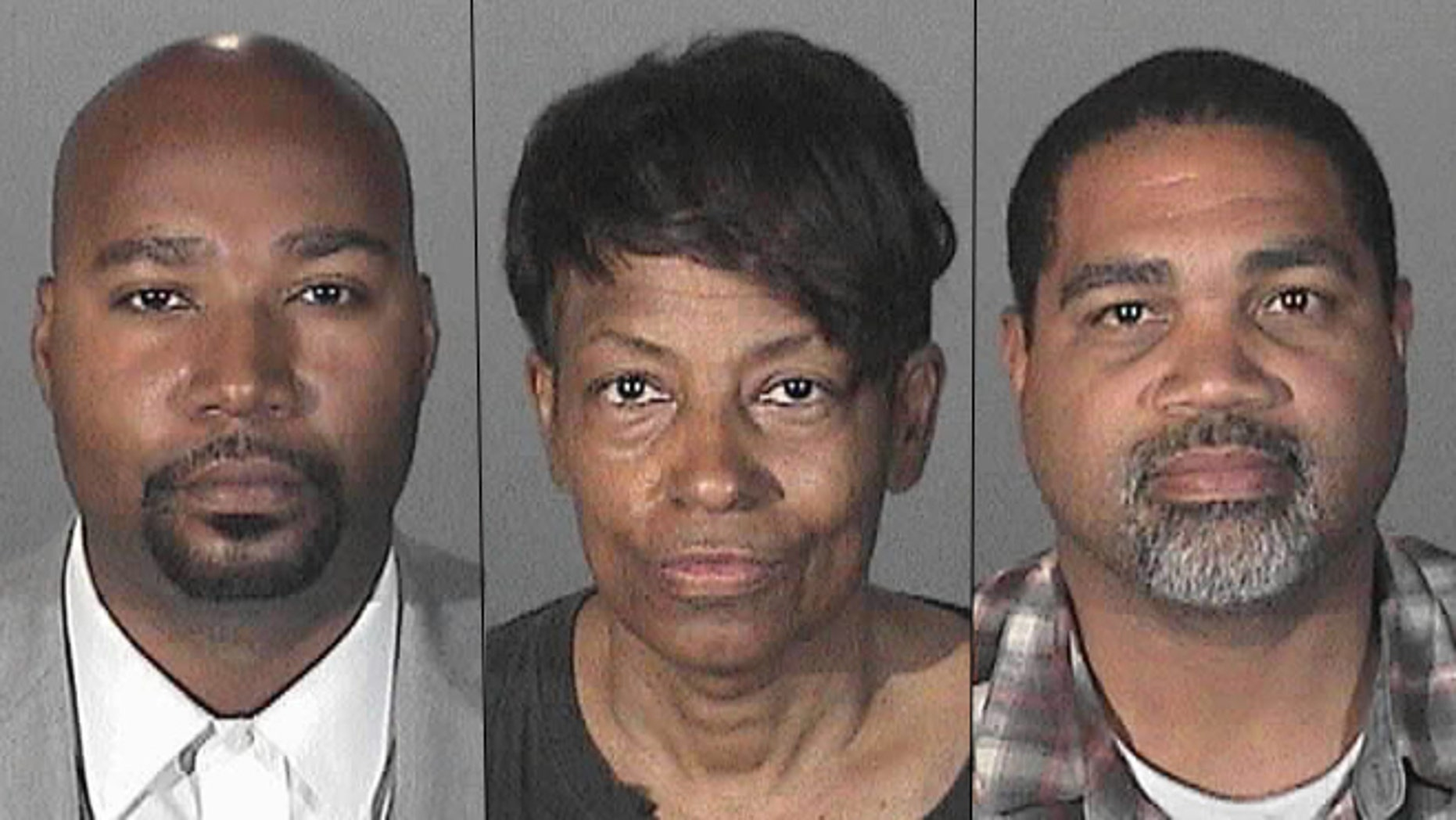From left, Brandon Kiel, 36, Tonette Hayes, 56, and David Henry, 46. The three were arrested and accused of operating a rogue police force.