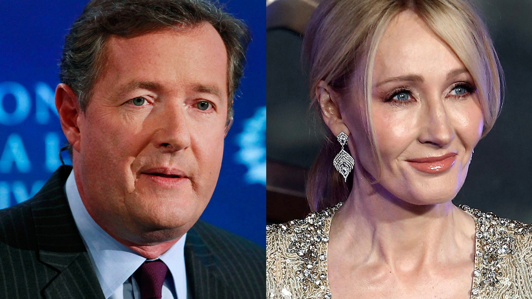 """Piers Morgan (left) called J.K. Rowling (right) a """"disgraceful liar"""" after she accused President Trump of snubbing a wheelchair-bound boy."""