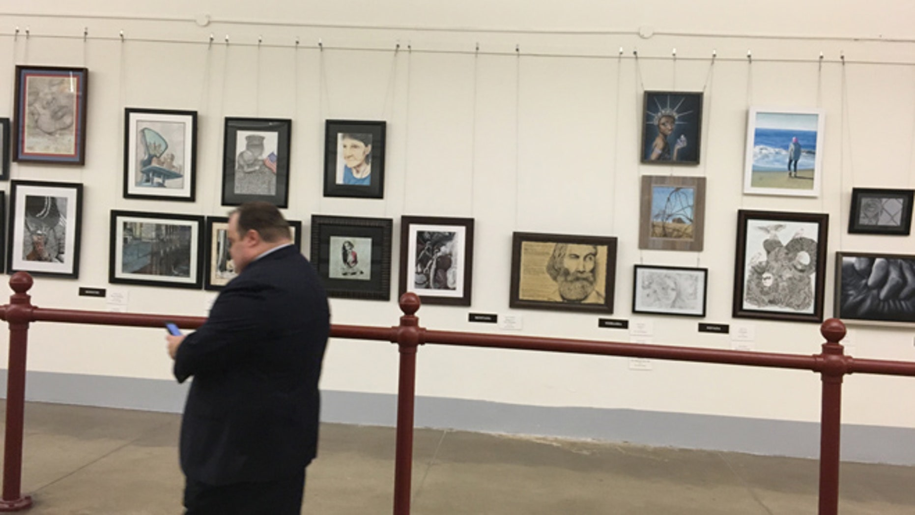 Jan. 17, 2017: The empty space where the 'pig painting' hung in the Cannon tunnel on Capitol Hill. The controversial painting was removed overnight Tuesday by the office of the Architect of the Capitol.