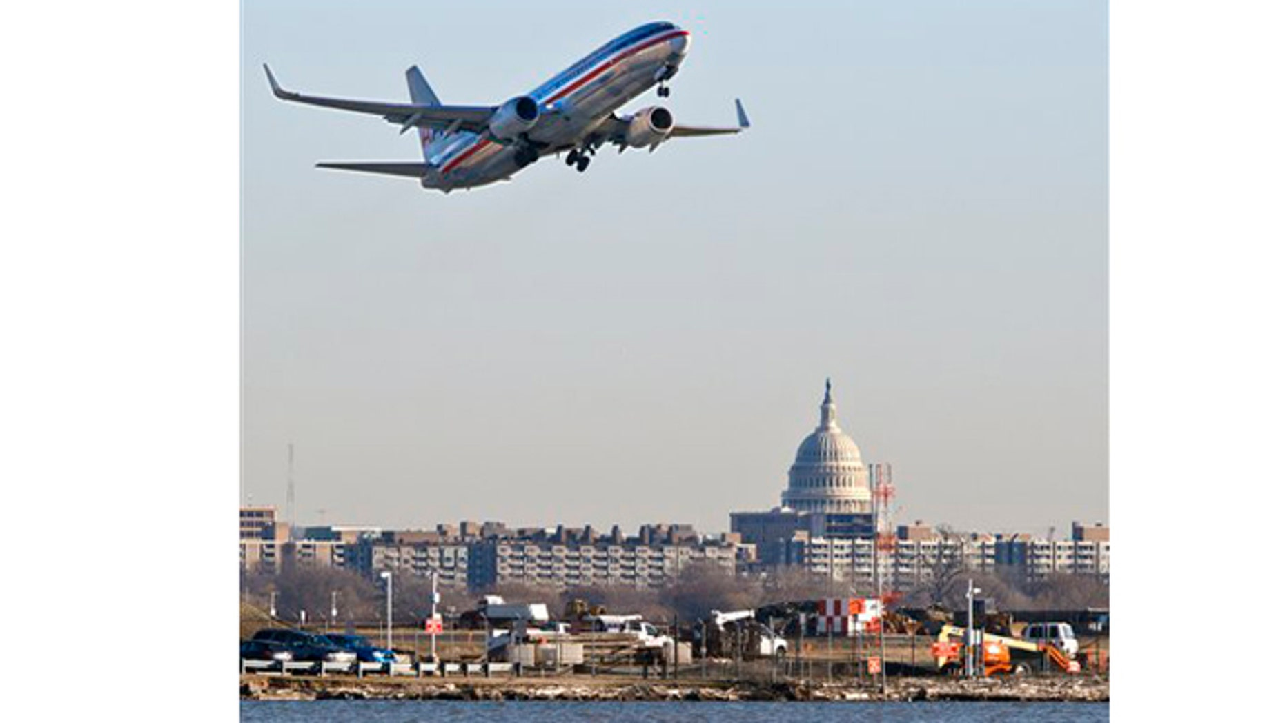 Feb. 23, 2012: An American Airlines jet takes off from Reagan National Airport in Washington.