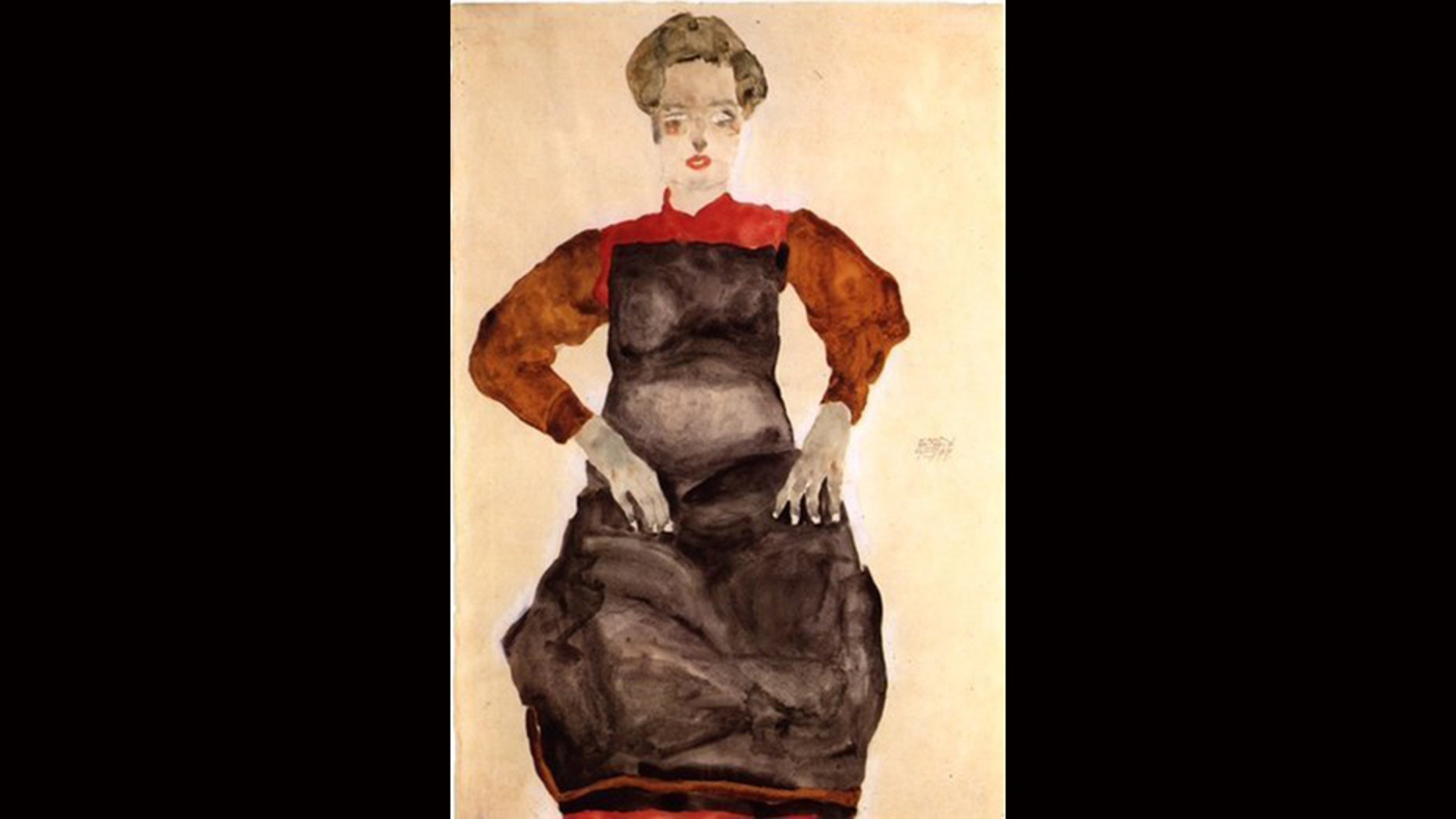 """Egon Schiele's """"Woman in a Black Pinafore,"""" among the Nazi-looted paintings set to be returned to the heirs of a Holocaust victim."""