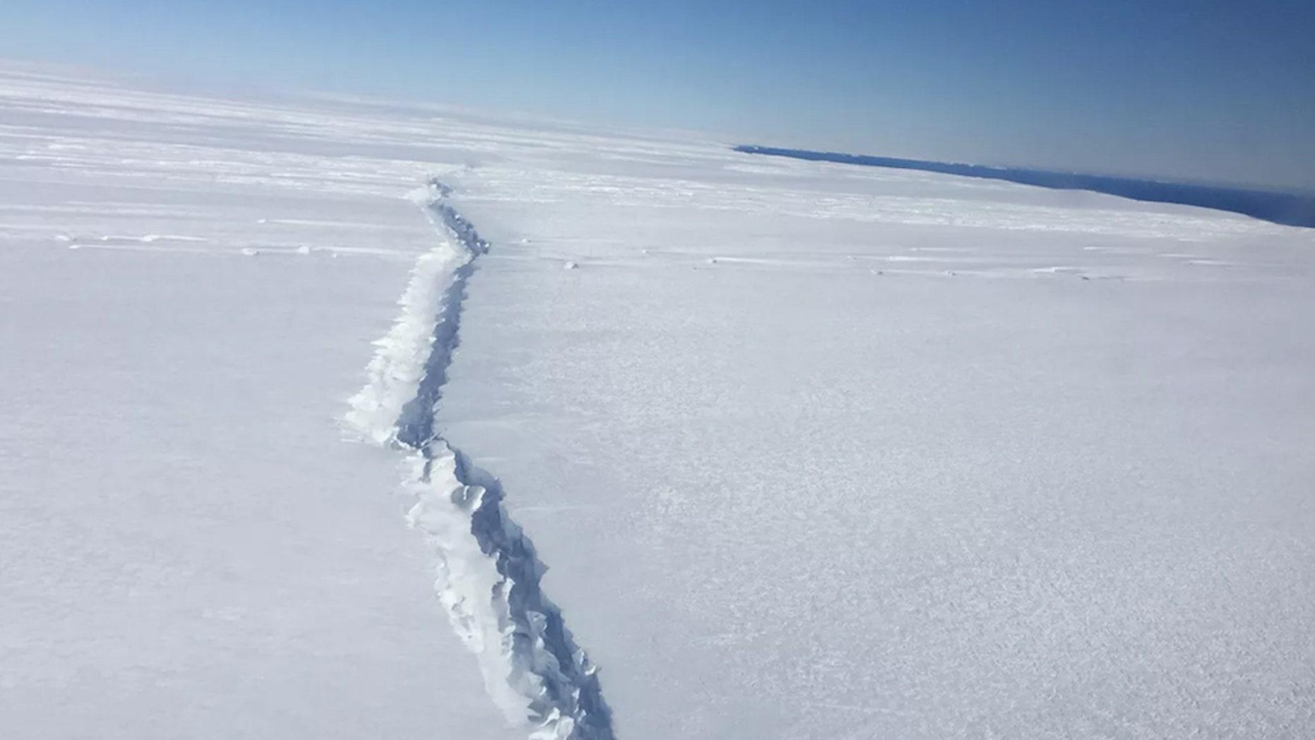 The rift along Pine Island Glacier, West Antarctica, was captured during an IceBridge flight on Nov. 4, 2016.