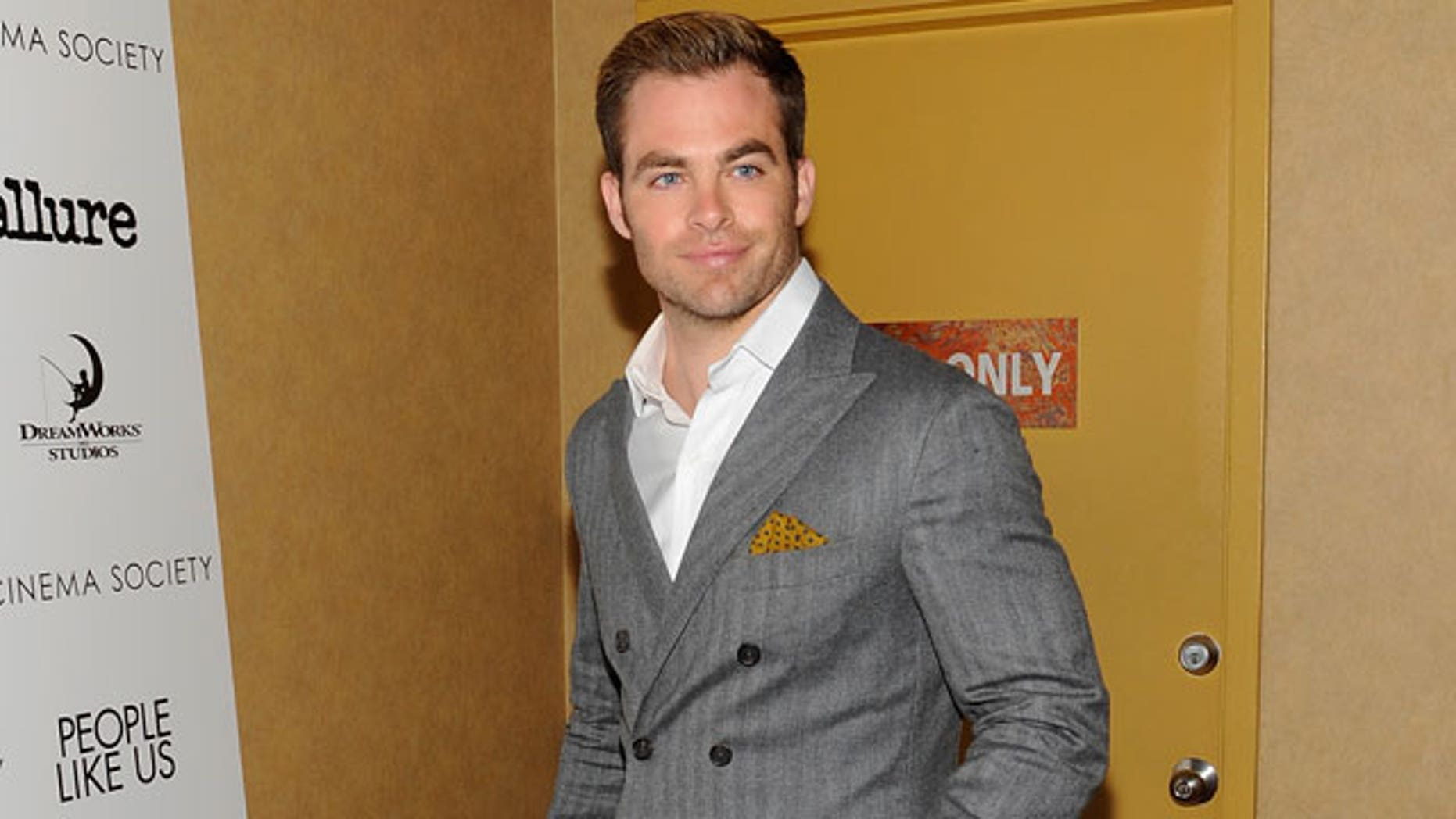 "June 25, 2012: Actor Chris Pine attends a special screening of ""People Like Us"" hosted by The Cinema Society and Allure at Chelsea Cinemas in New York."