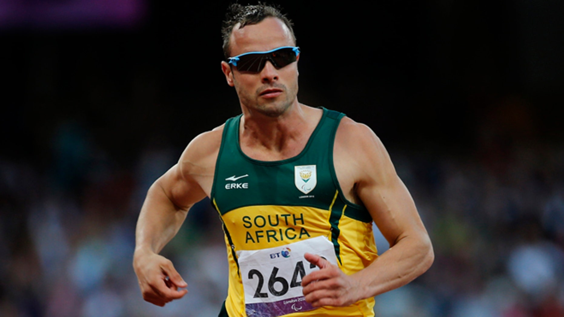 Sept. 5, 2012: In this file photo, South Africa' Oscar Pistorius competes during Men's 100m T44 round 1 at the 2012 Paralympics in London. A judge in South Africa says Pistorius, who is charged with murdering his girlfriend, can leave South Africa to compete in international competition, with conditions.