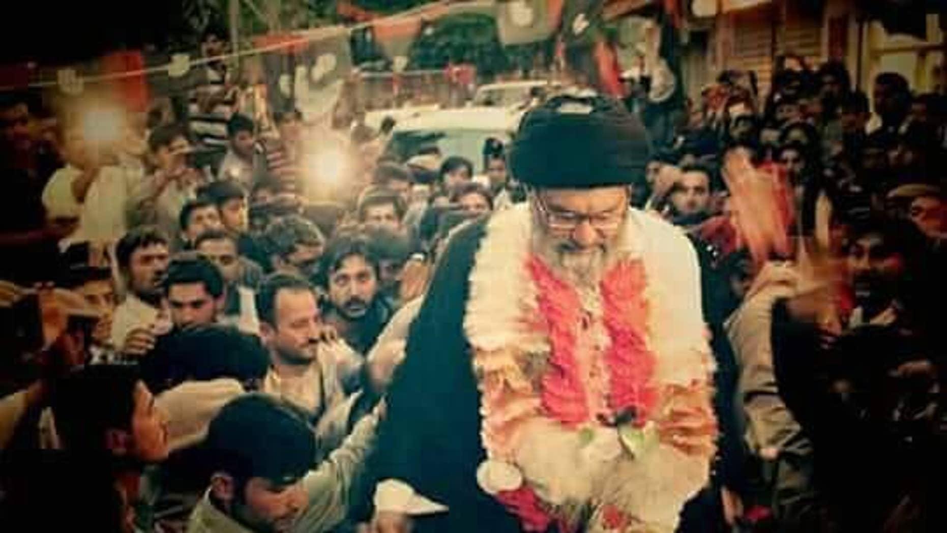 Supreme Leader Ali Khamenei of Iran,  alongside members of Pakistan's Shiite political party, Tahrik-e-Jafaria Pakistan (TJP).