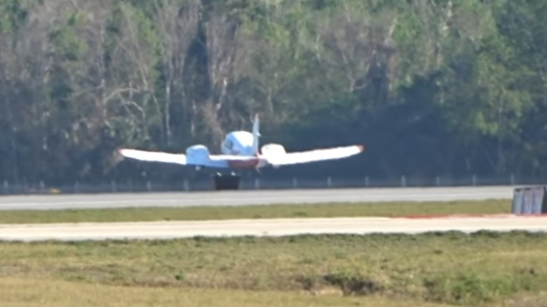 The careful landing in Daytona Beach.