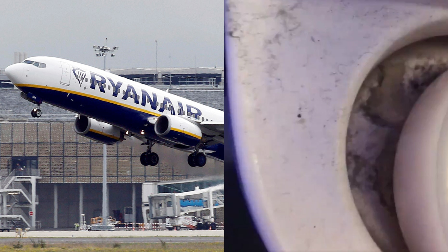 """A Ryanair passenger took video of the """"disgusting"""" lavatory on his flight."""