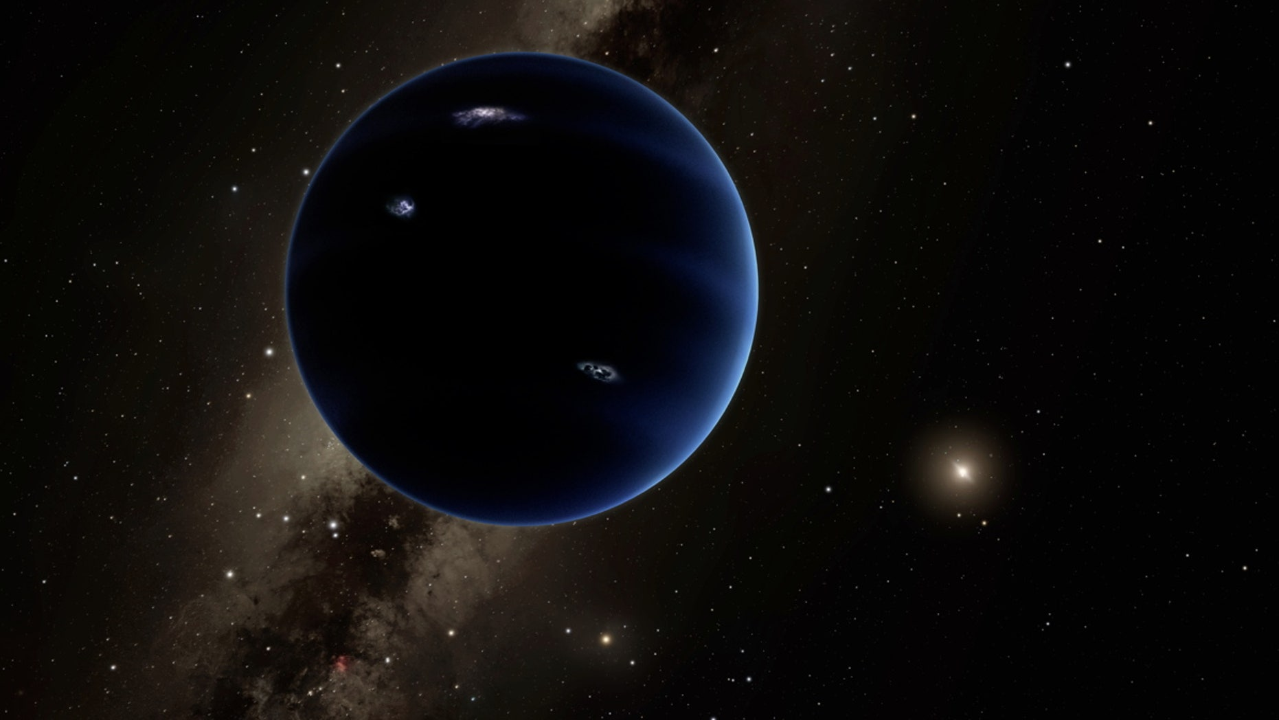 Artist's illustration of Planet Nine, a world about 10 times more massive than Earth that astronomers think may lie undiscovered in the far outer solar system.
