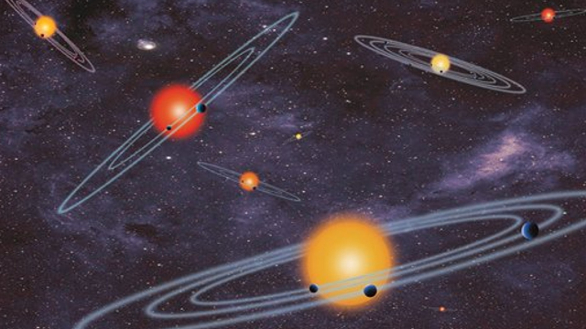 This handout artist conception provided by NASA depicts multiple-transiting planet systems, which are stars with more than one planet. The planets eclipse or transit their host star from the vantage point of the observer. This angle is called edge-on.