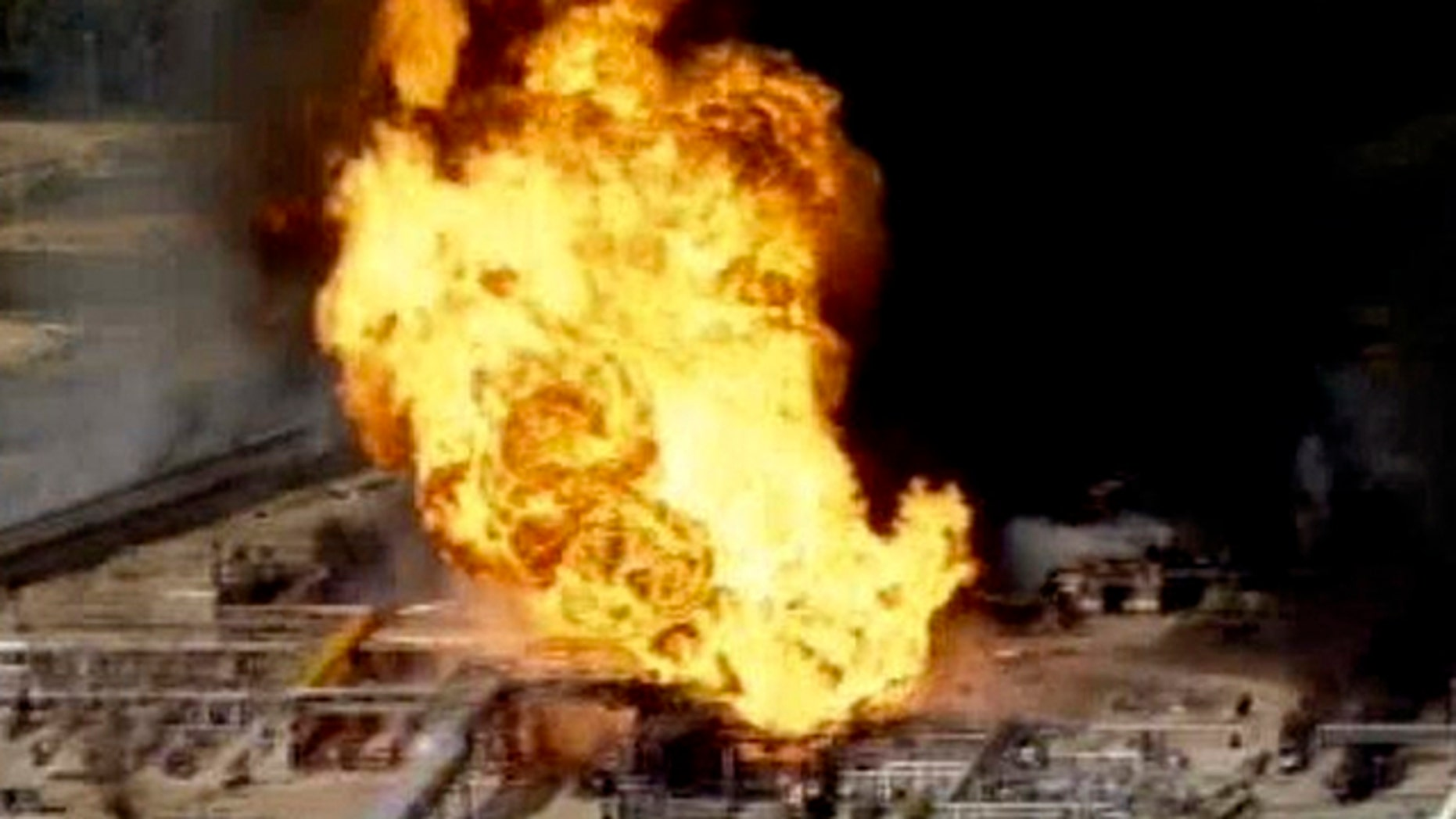 Feb. 8, 2011: This frame grab from video made available by KPRC-TV, shows a fire burning at the Mont Belvieu petroleum plant east of Houston.