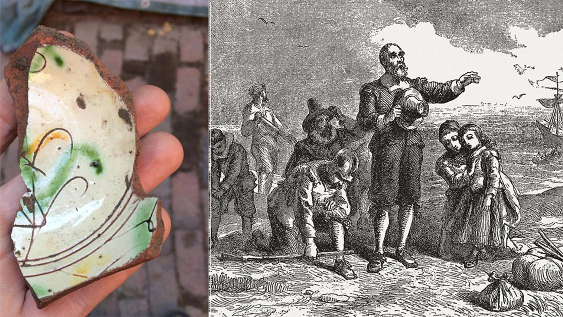 The fragment of the 17th century Italian plate discovered near the Paul Revere House in Boston (City of Boston Archaeology Program) and an illustration of Pilgrim Fathers' embarkation (iStock/ZU_09)
