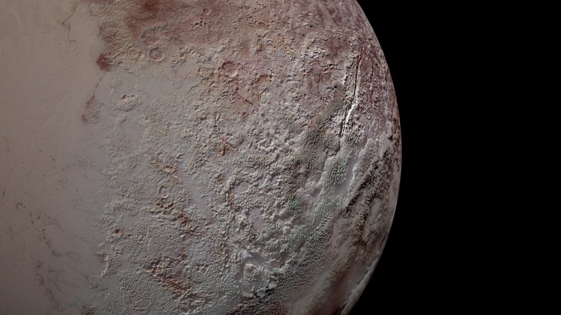 The New Horizons mission that flew by Pluto in 2015 gathered this view of blades of ice on the dwarf planet's surface — many stretching as tall as skyscrapers.