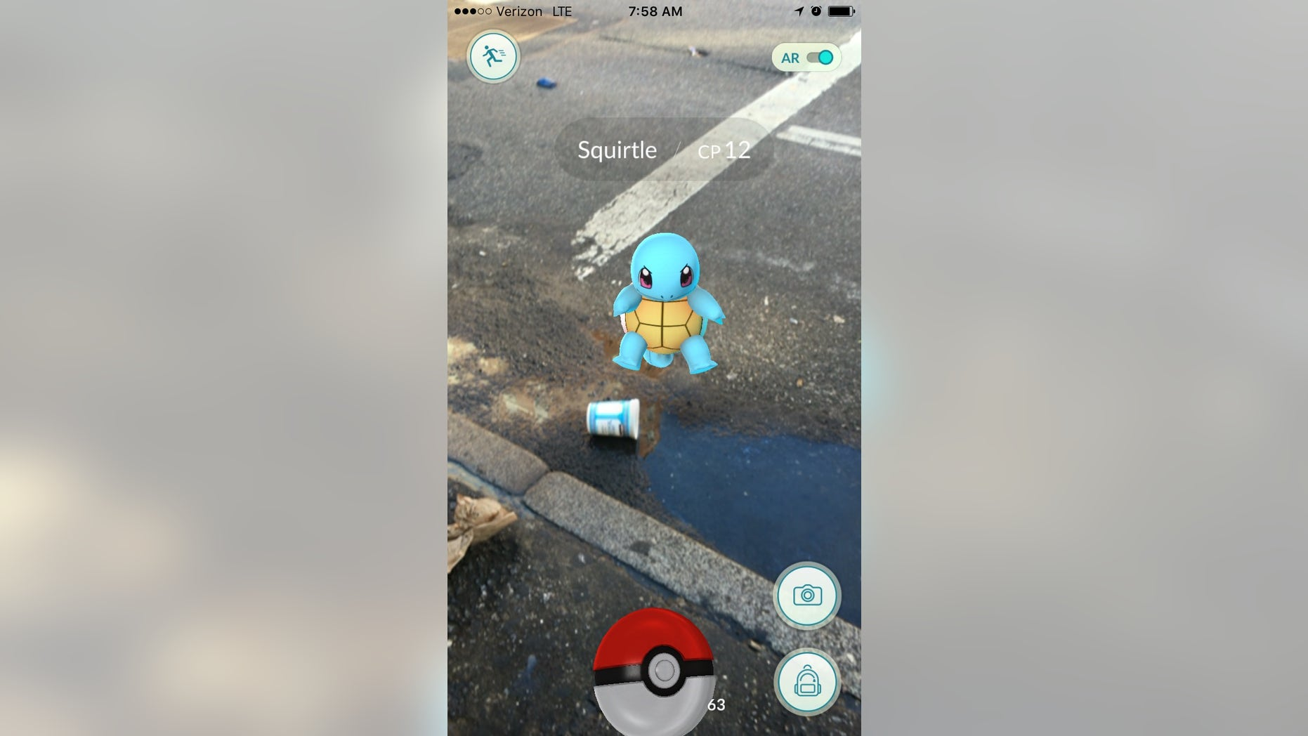 Pokemon Go's Squirtle shows up on the streets of New York City.