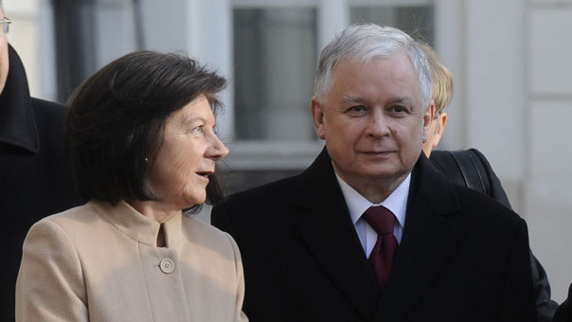 March 15, 2010: Polish President Lech Kaczynski and wife Maria are seen in front of the Presidential Palace in Warsaw. (AP)