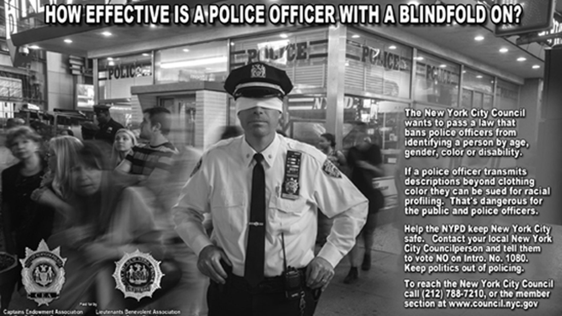 Shown here is an ad from New York City police unions opposing a new proposal they say will limit their ability to do their jobs.