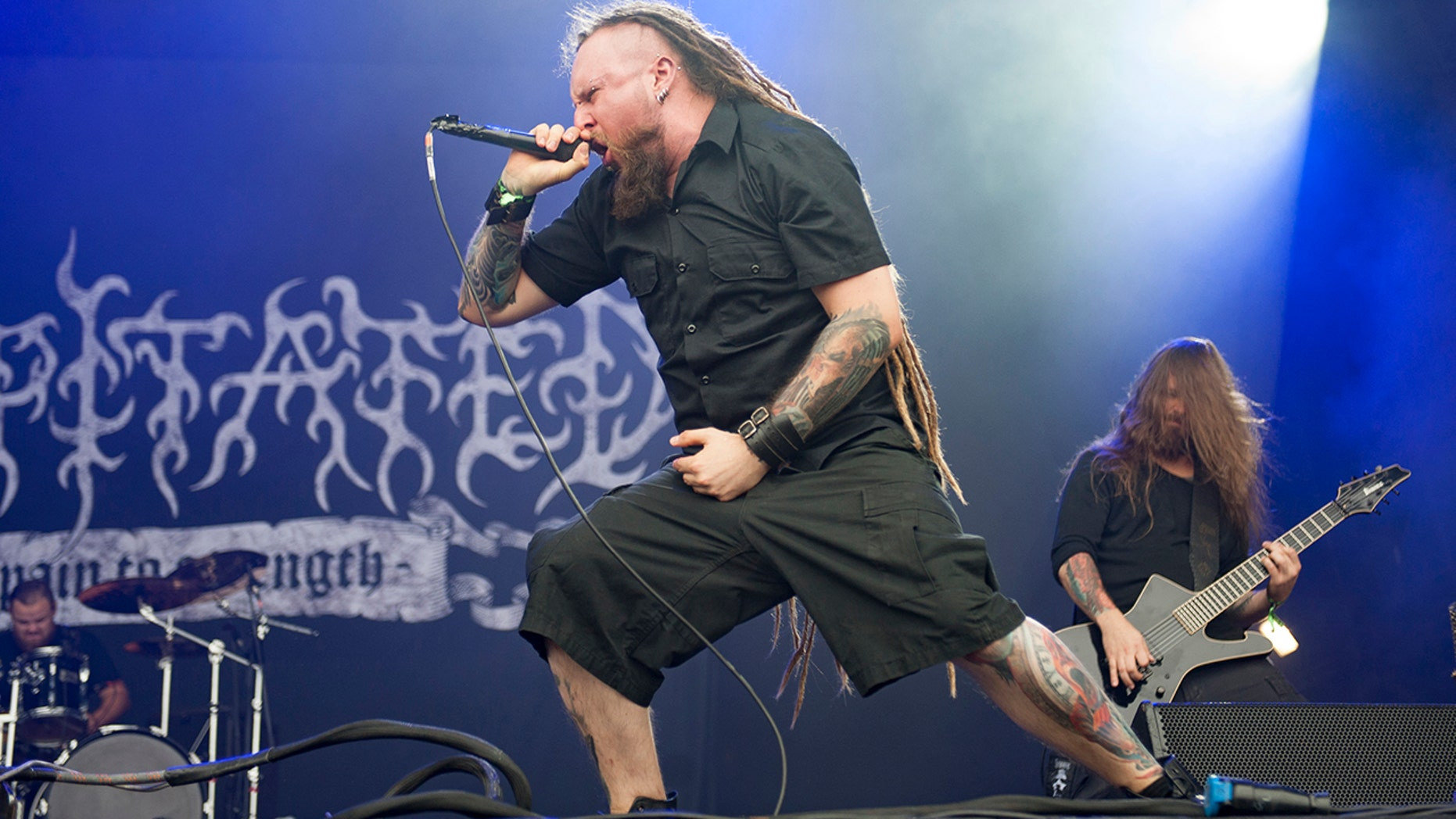 Rafal Piotrowski of Decapitated performing live on stage on day 1 at Bloodstock Festival at Catton Hall on August 11, 2017 in Burton Upon Trent, England.  (Photo by Katja Ogrin/Redferns)