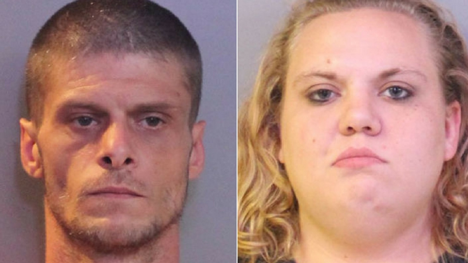 Shaun Sparks, left, and Christy Vincent were arrested on Sunday for allegedly killing an alligator and trying to sell its tail in a Florida neighborhood.