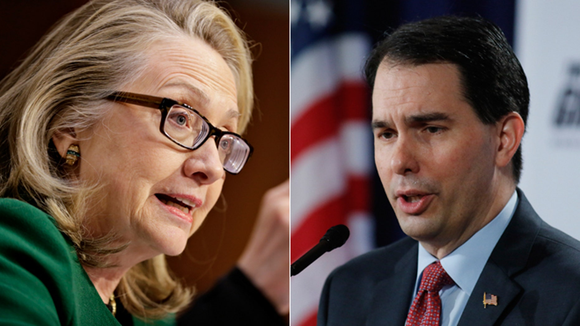 Former Secretary of State Hillary Clinton (left) and Wisconsin Gov. Scott Walker (right)