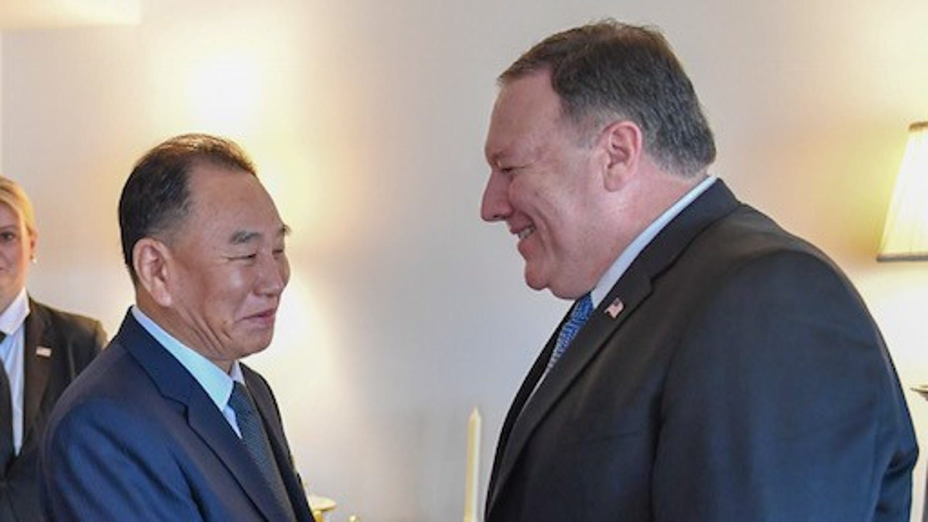 Kim Yong Chol, of North Korea, meets with Secretary of State Mike Pompeo last month in New York City.
