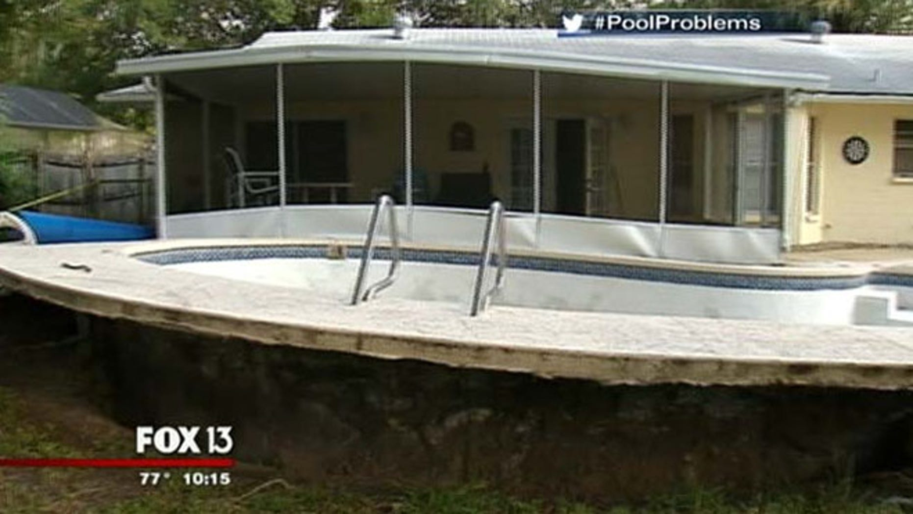 Jessica Pedraza says she drained her pool on Sunday. When they returned to the home on Monday night, they saw the pool jutting out of the dirt.